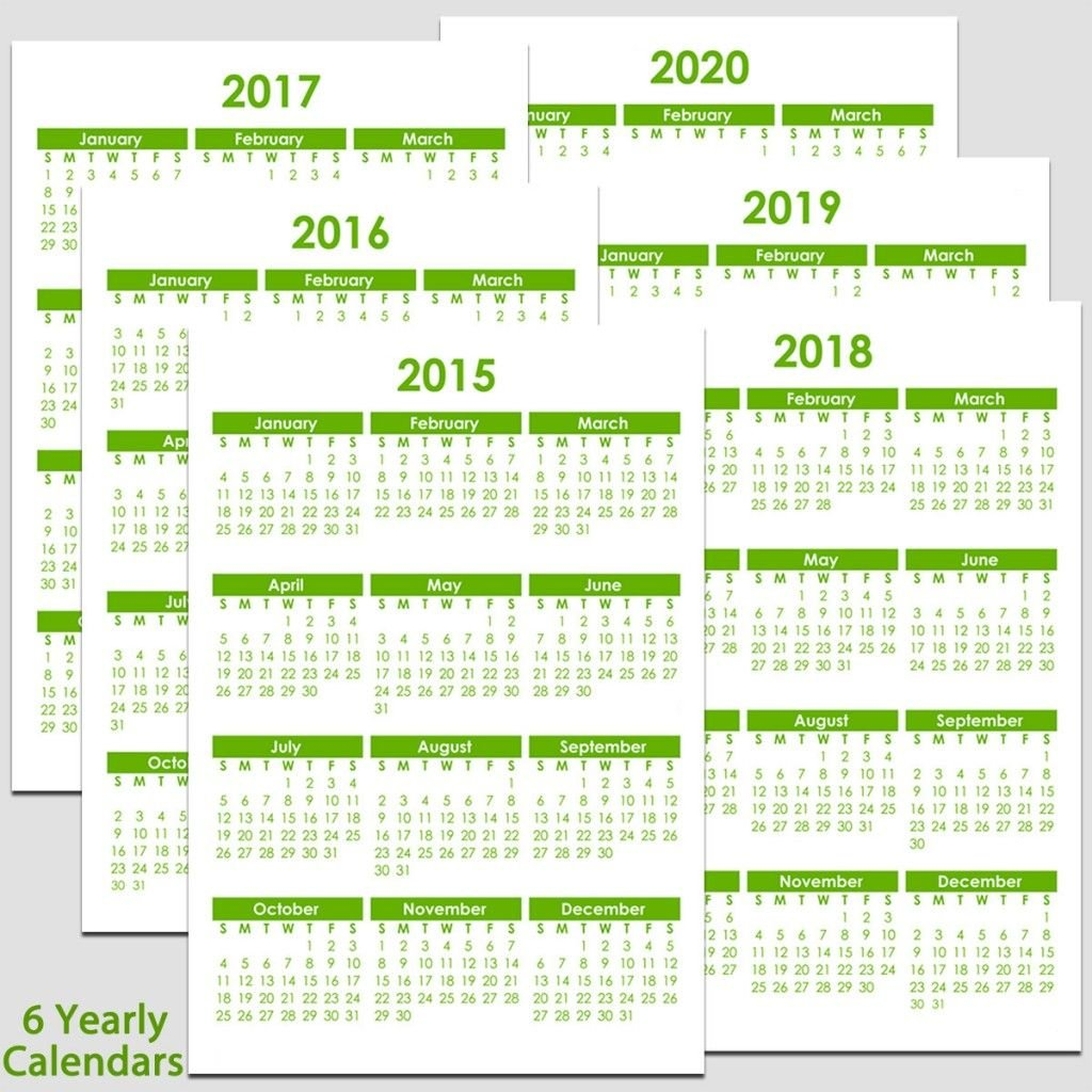 Printable 2015 To 2020 Yearly Calendar – 8 1/2″ X 11″. The Blank Calendar Template Printable 8 1/2 X 11
