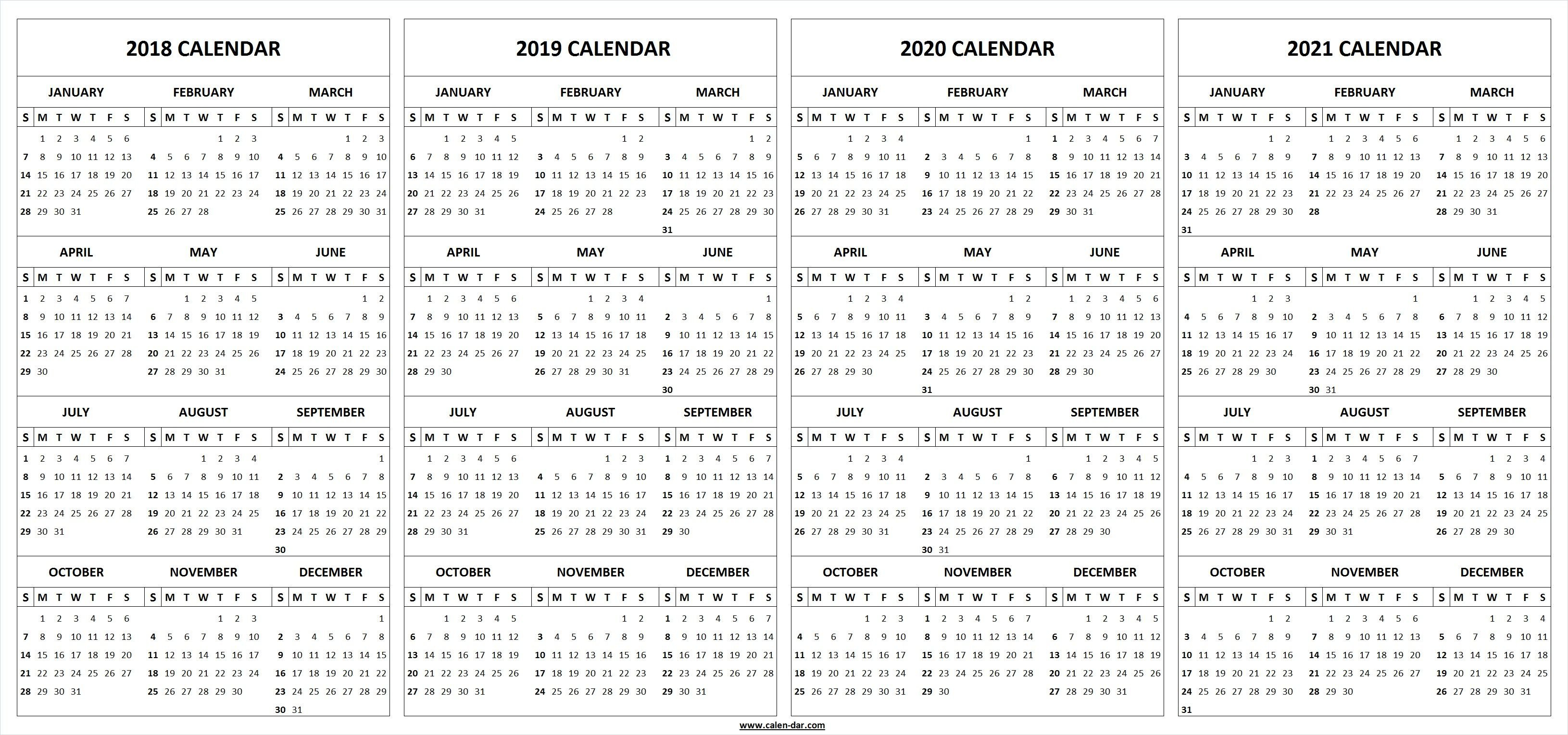 Printable 2018 2019 2020 2021 Calendar Template | Альбомы 4 Year Calendar Template