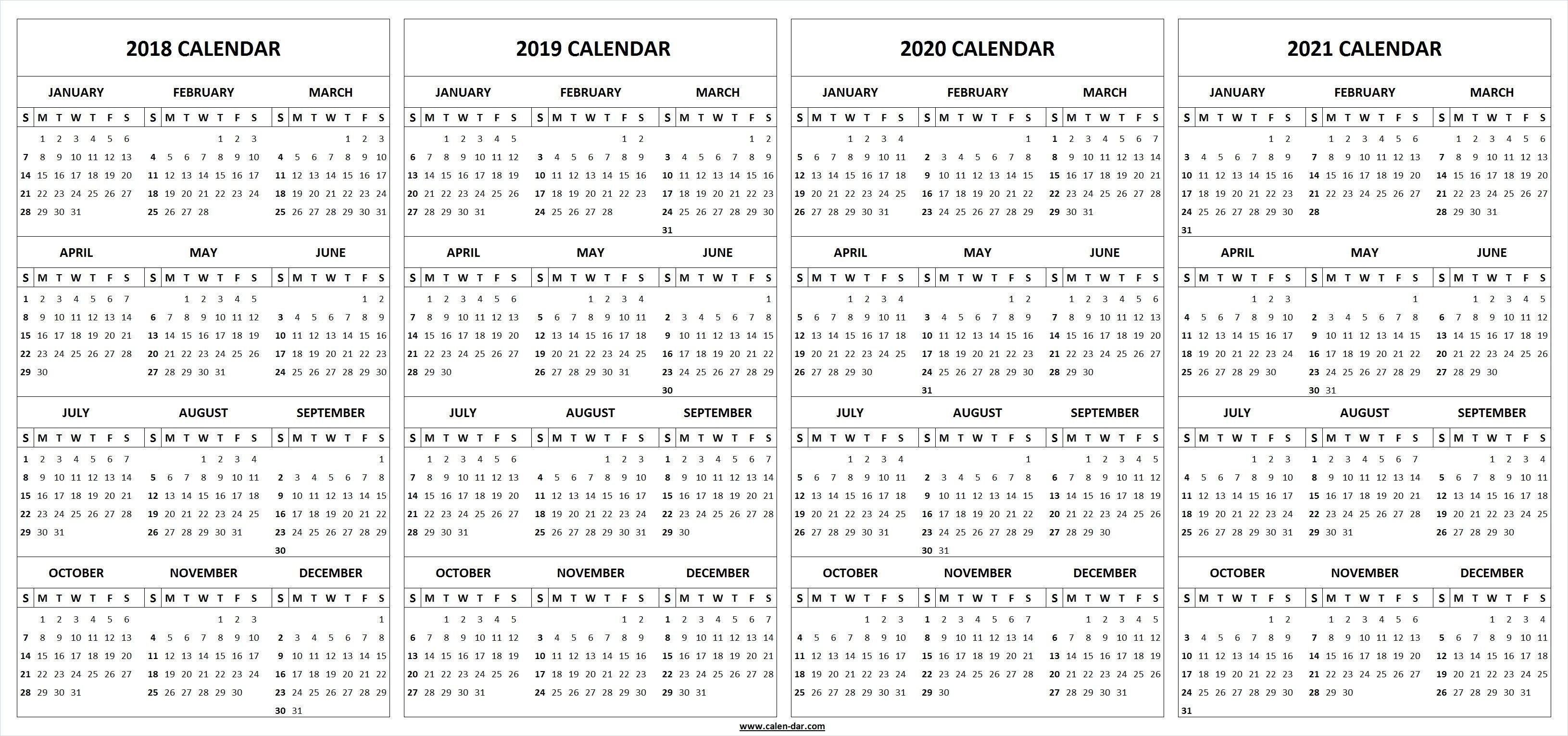 Printable 2018 2019 2020 2021 Calendar Template | Альбомы 4 Year Printable Calendar
