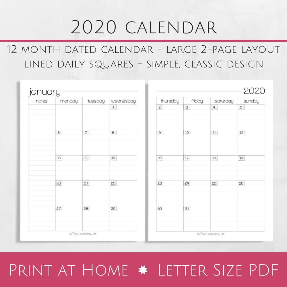 Printable 2020 Monthly Calendar – Large 2-Page Layout — Plan A Healthy Life Printable 2 Page Monthly Calendar