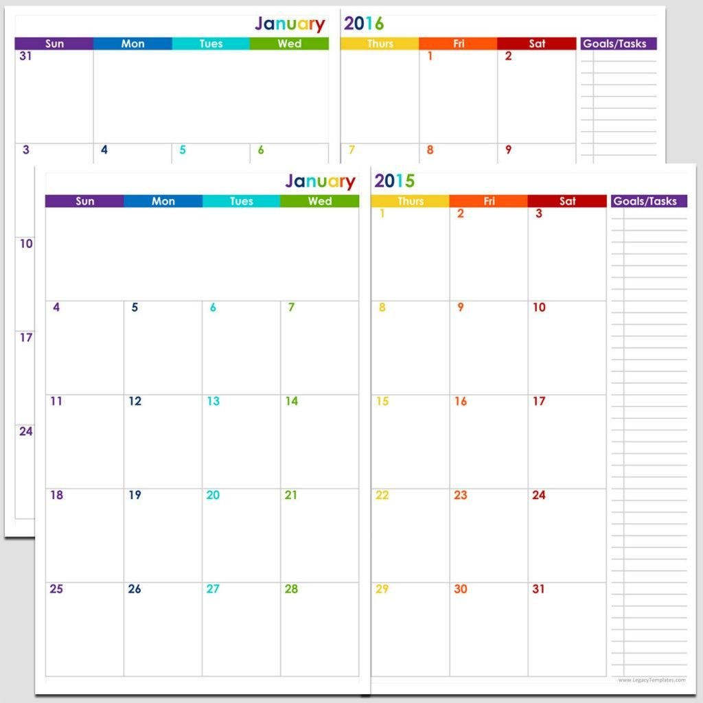 Printable 24-Month 2 Page Calendar – 2015 & 2016 – 5 1/2″ X Free 8 1/2 By 11 Blank Calendar