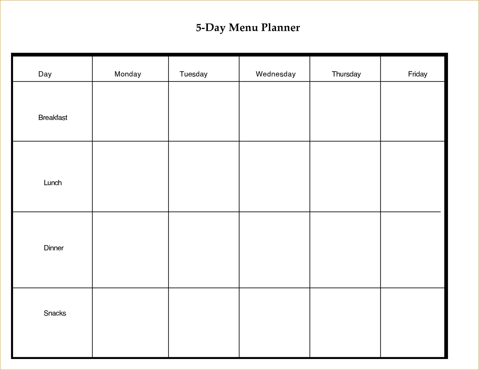 Printable 5 Day Calendar Blank Calendar Template 5 Day Week 8 Week Calendar Template Printable