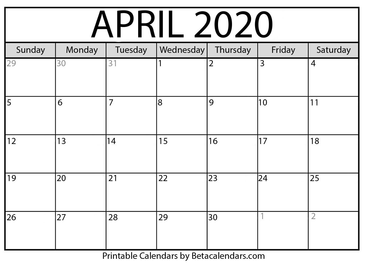 Printable April 2020 Calendar - Beta Calendars Feree Blank Butterfy Calendar Month To Fill In