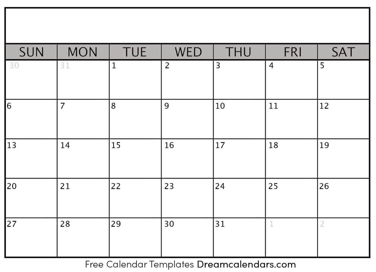 Printable Blank Calendar 2020 | Dream Calendars Free Printable Calendar Fill In