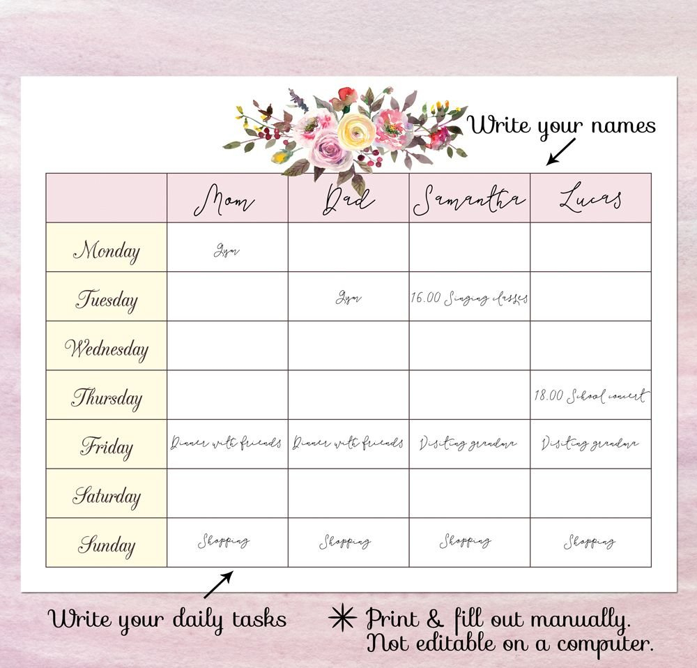 Printable Blank Calendar Planner, Blank Weekly Schedule Calendar I Can Fill Out