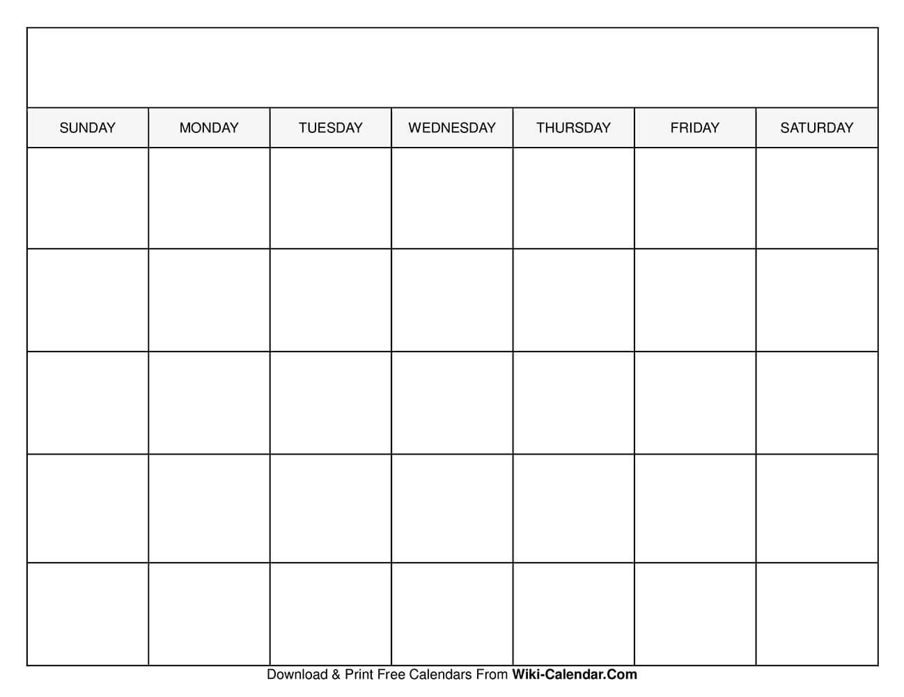 Printable Blank Calendar Templates Fill In Monthly Calendar Printable