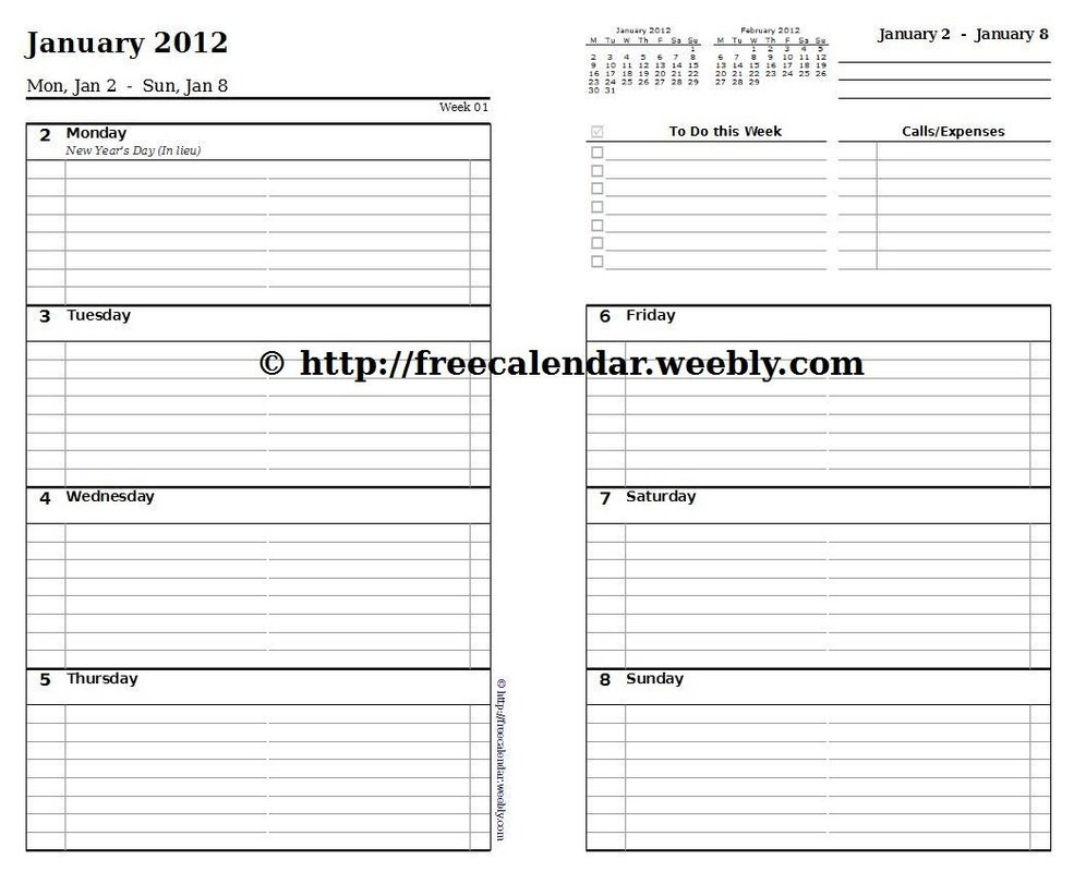 Printable Calendar 2012 - Free Printable Calendars 5 X 8 Free Printable Calendars