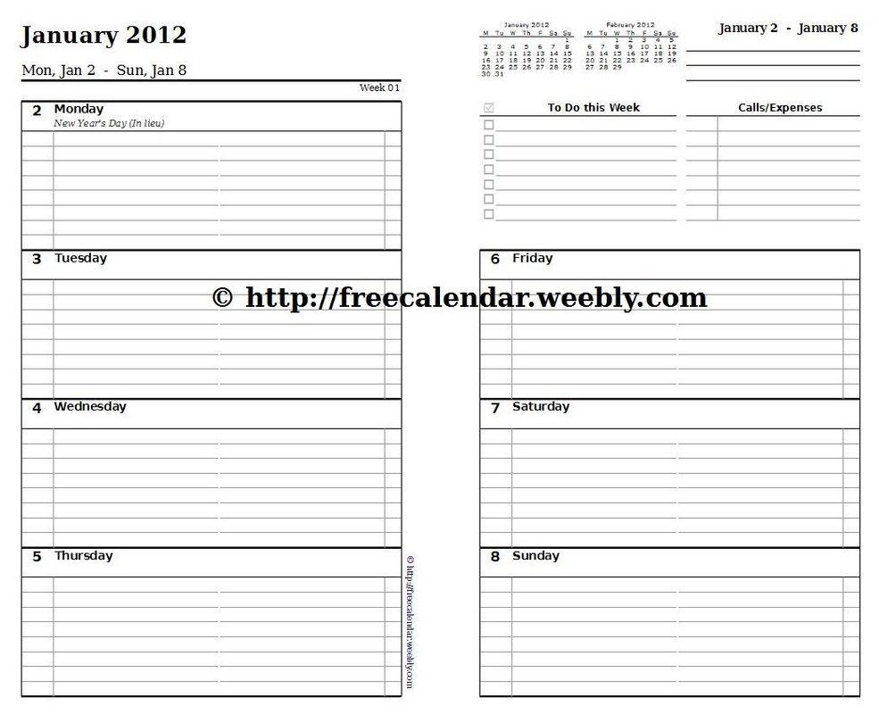 Printable Calendar 2012 - Free Printable Calendars Free Printable 8 1/2 X 11 Weekly Planner