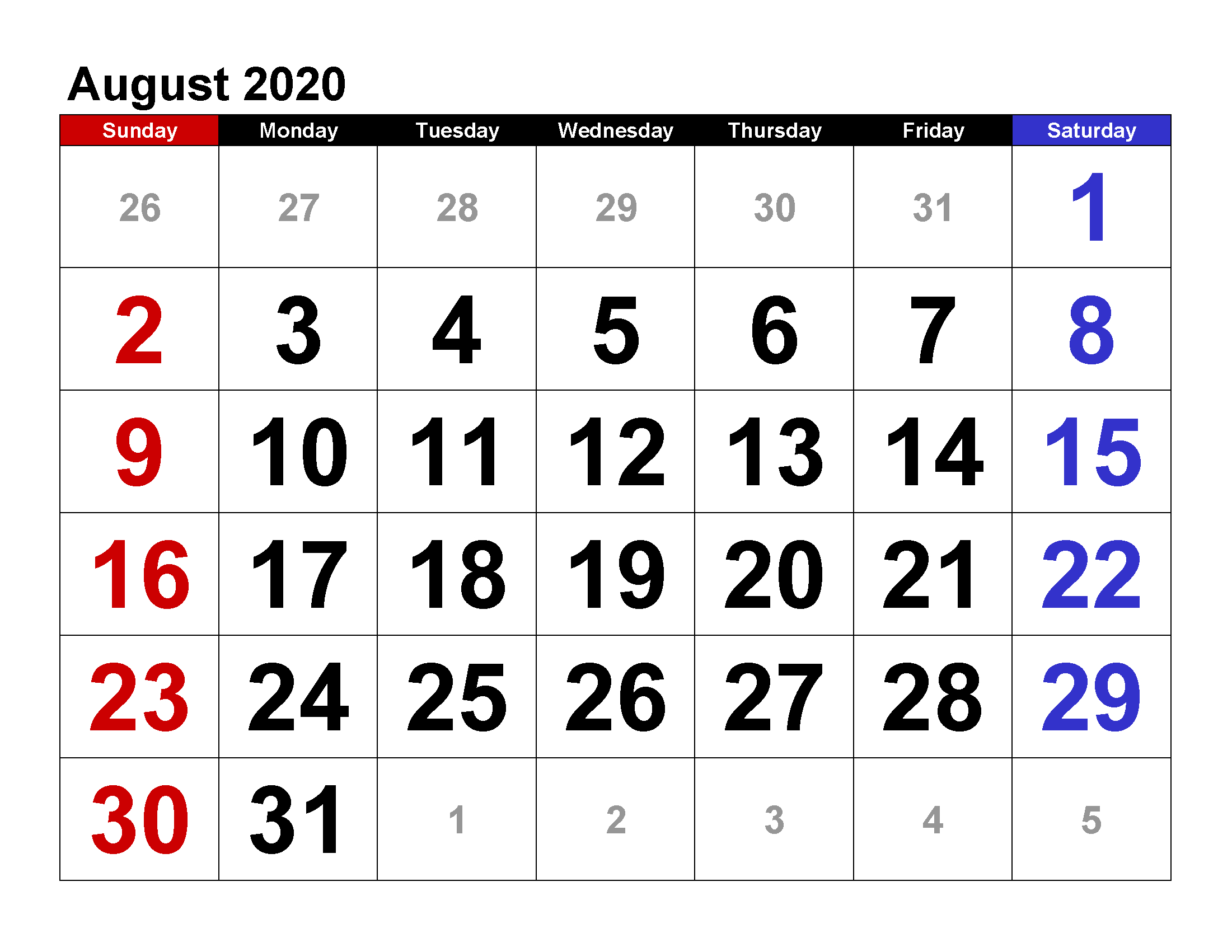 Printable Calendar Template August 2020 Calendar Large Large Printable Numbers For Calendar