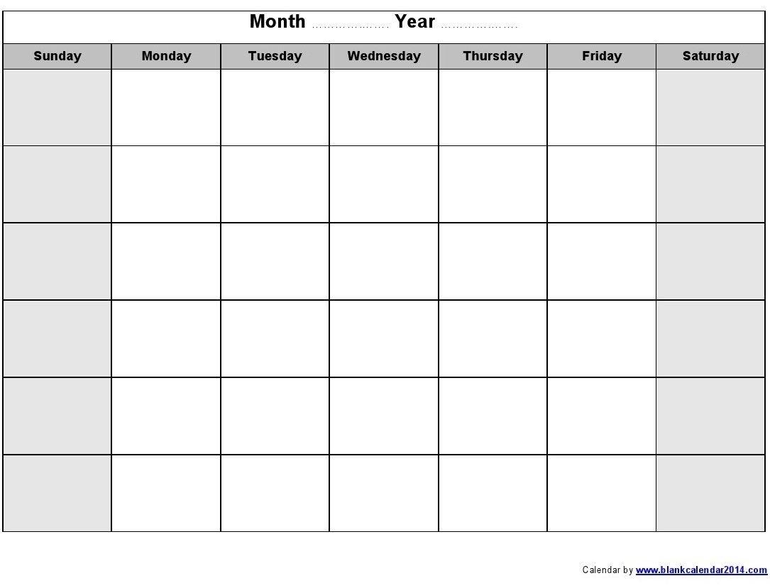 Printable Calendars | Printable Monthly Blank Calendar Sunday Through Saturday Blanl Calendar
