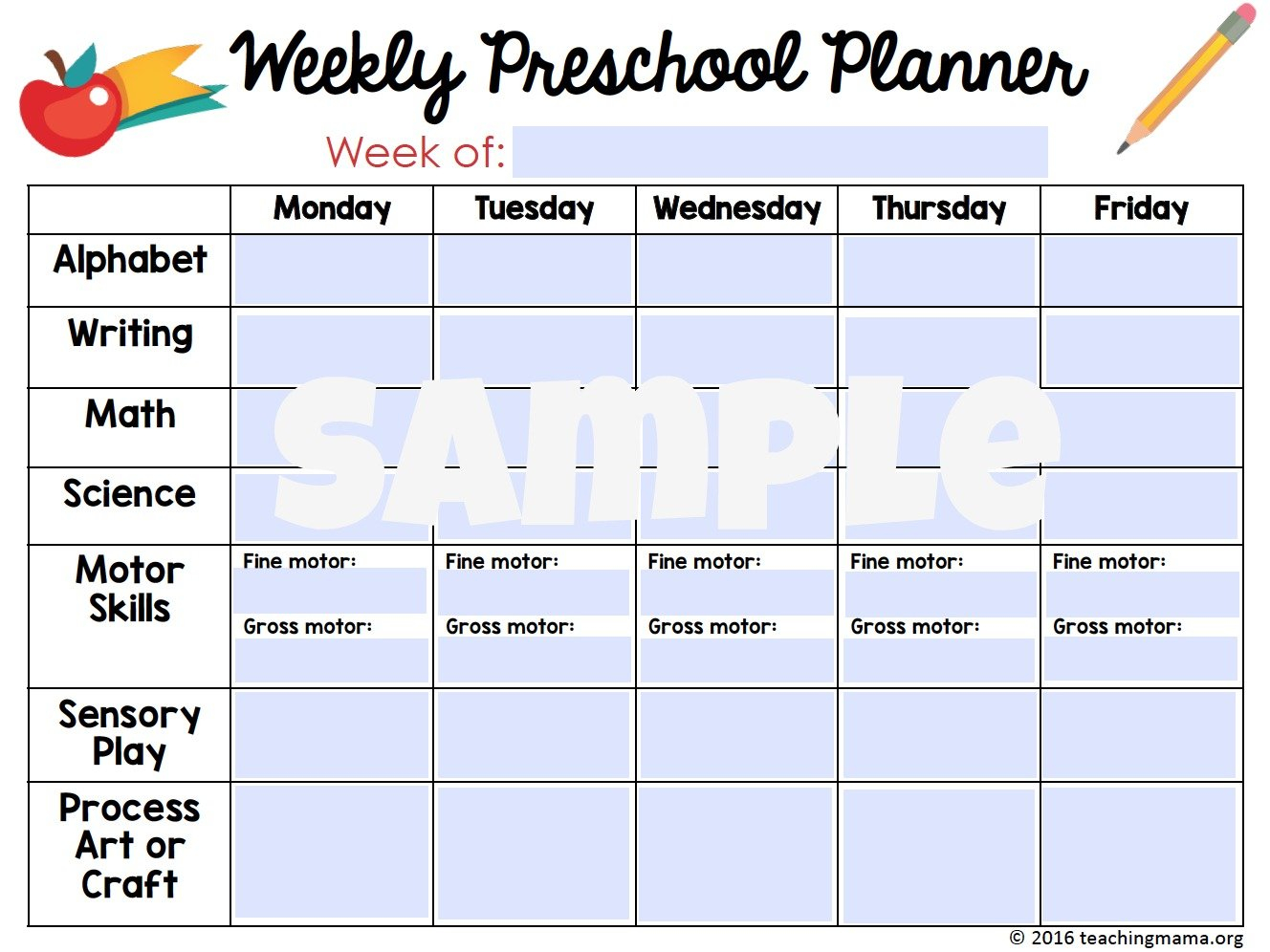 Printable Classroom Planner Lesson Plan Template Weekly Prescool Plannar