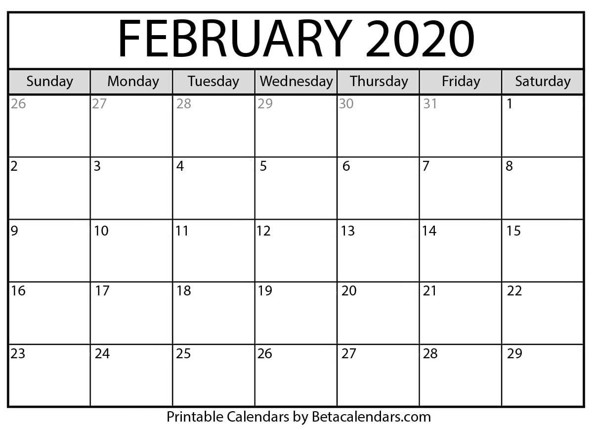 Printable February 2020 Calendar - Beta Calendars How Can I Print Calendar To Fill In