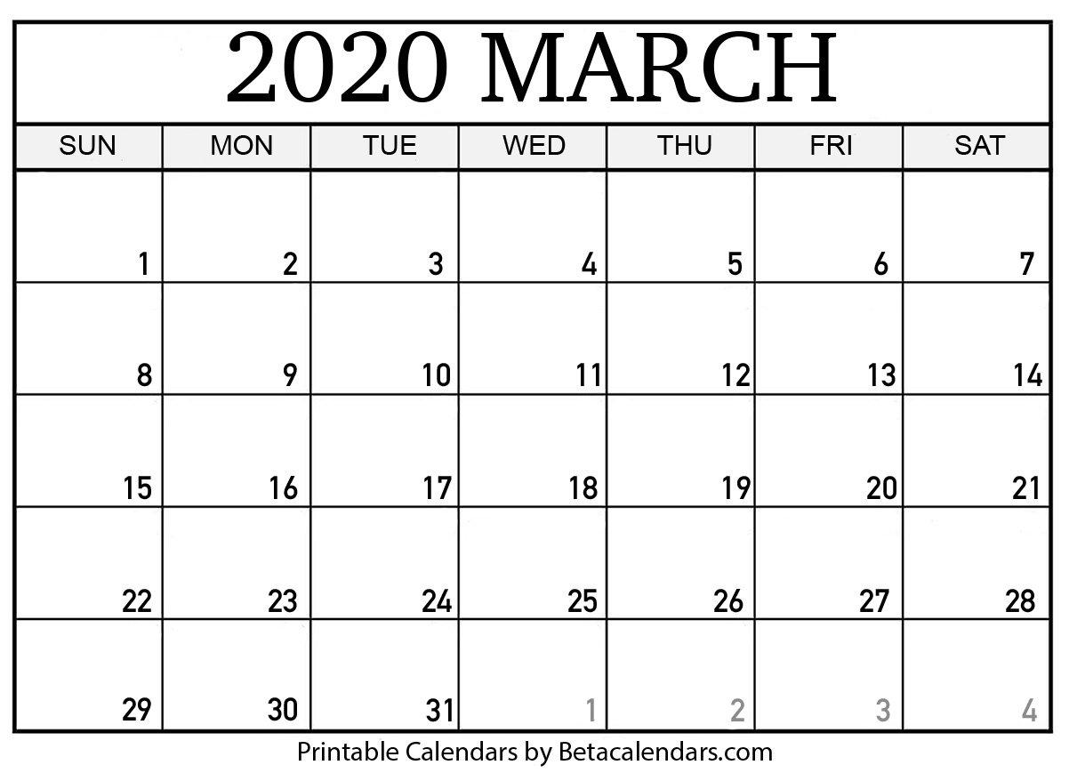 Printable March 2020 Calendar - Beta Calendars March Last 2 Weeks Calendar