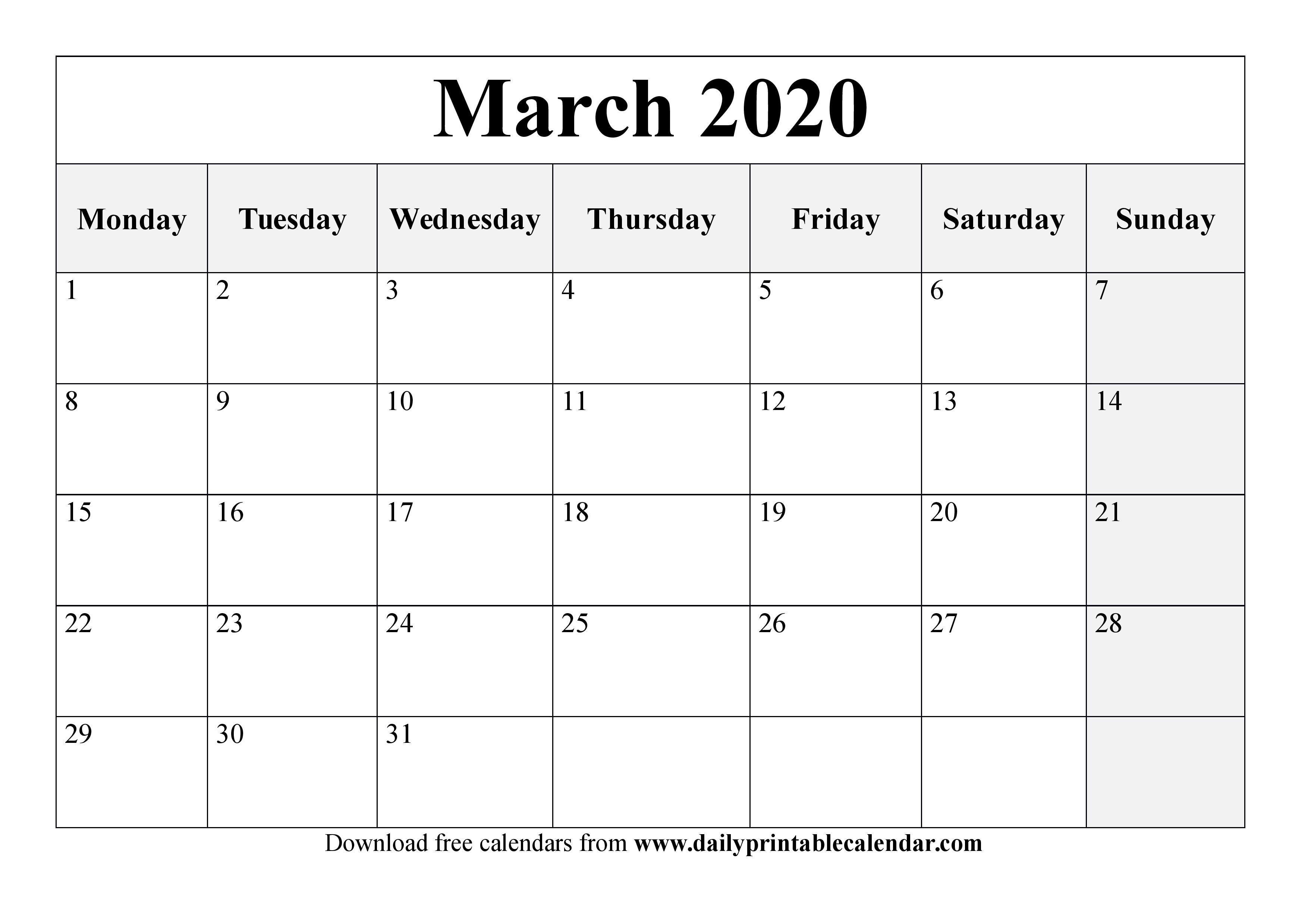 Printable March 2020 Calendar Template - Free Calendars Calendar You Can Edit Free