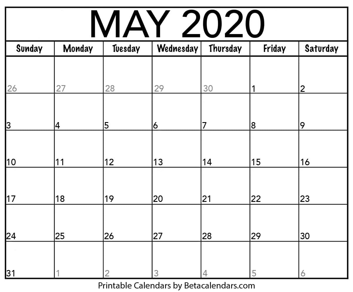 Printable May 2020 Calendar - Beta Calendars Www.may Caldenar With Monday Thru Fri Dates