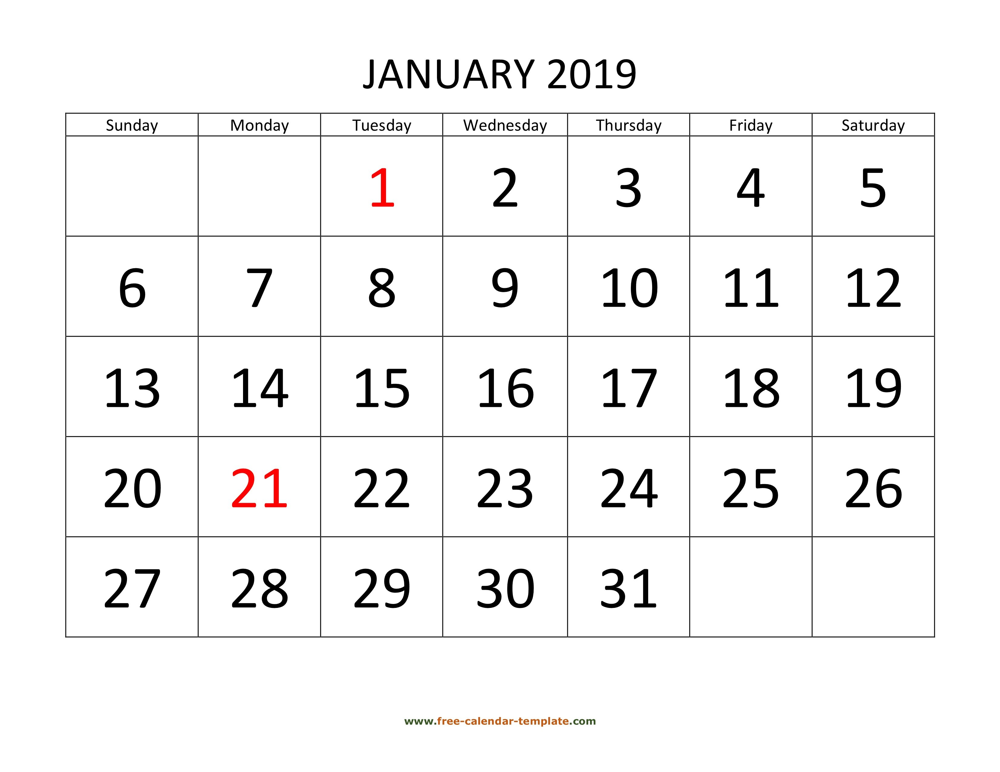Printable Monthly Calendar 2019 | Free-Calendar-Template Large Printable Numbers For Calendar