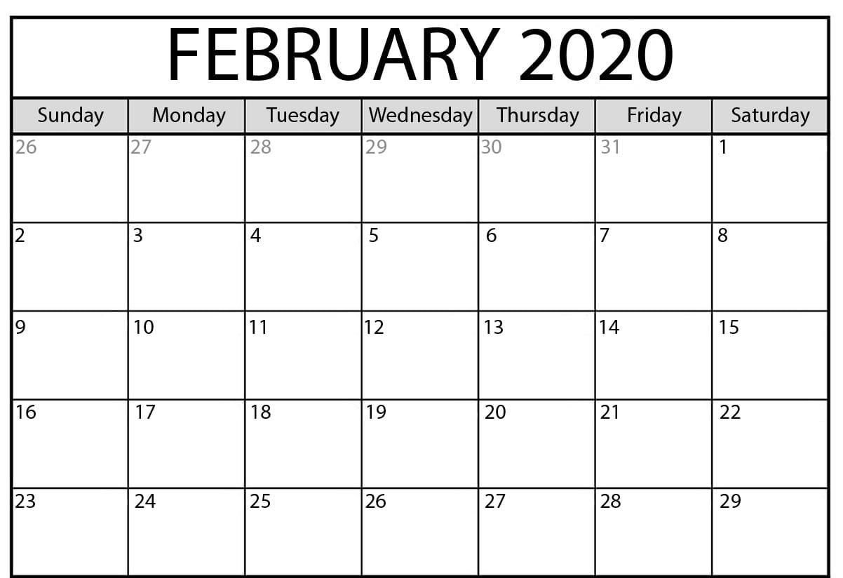 Printable Monthly Calendar February 2020   Monthly Calendar 8X11 Printable Monthly Calendar