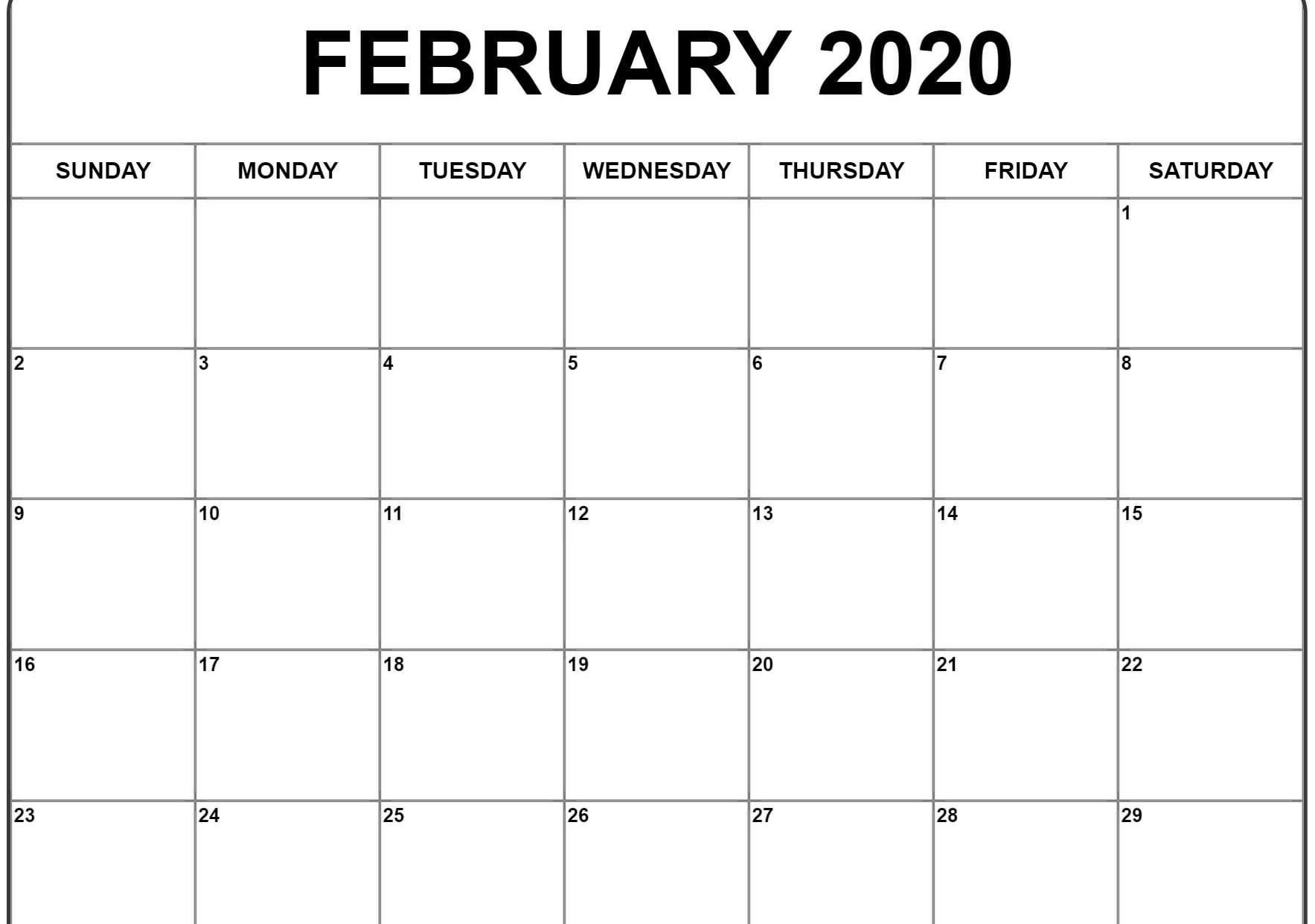 Printable Monthly Calendar February 2020 | Monthly Calendar 8X11 Printable Monthly Calendar
