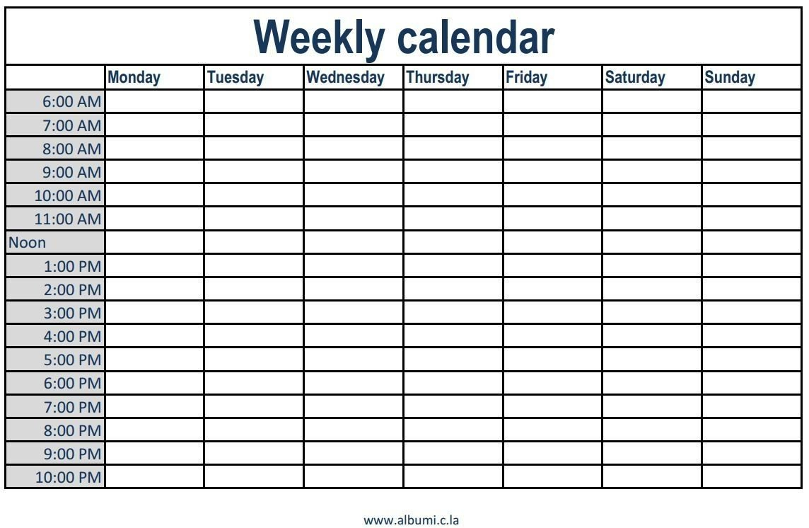 Printable Weekly Calendar With Time Slots Printable Weekly Calendar With Hourly Time Slots