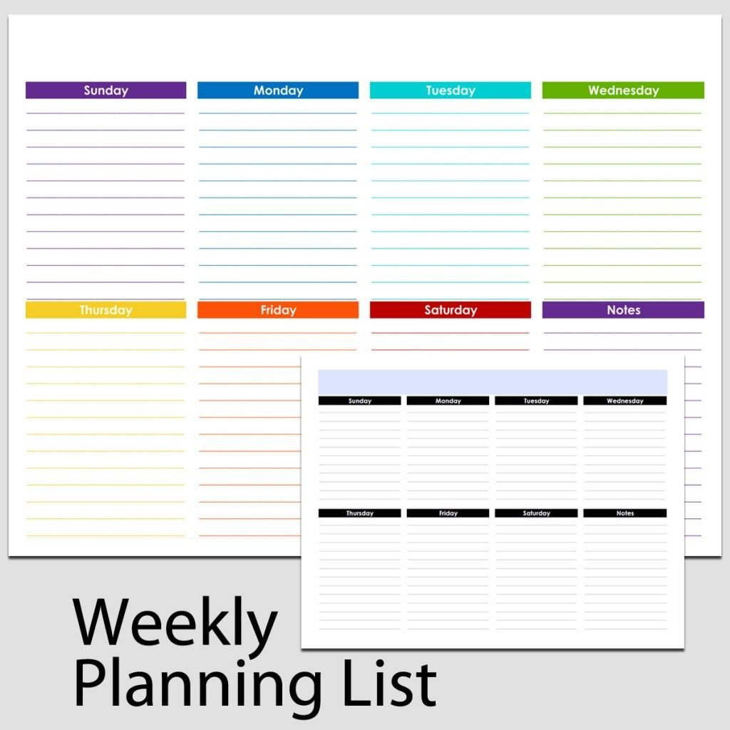 Printable Weekly List In Landscape – 8 1/2″ X 11″. The Free Printable 8 1/2 X 11 Weekly Planner