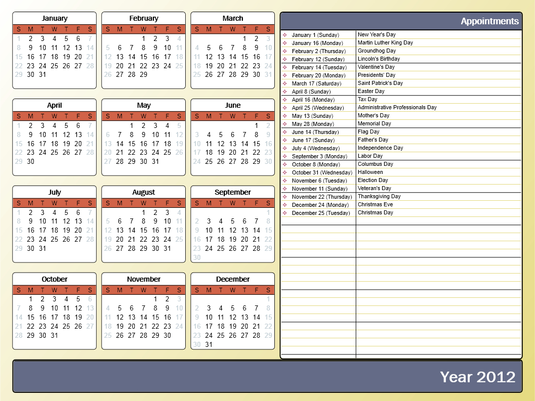 Printing A Yearly Calendar With Holidays And Birthdays Free Print Color Coded Calendar