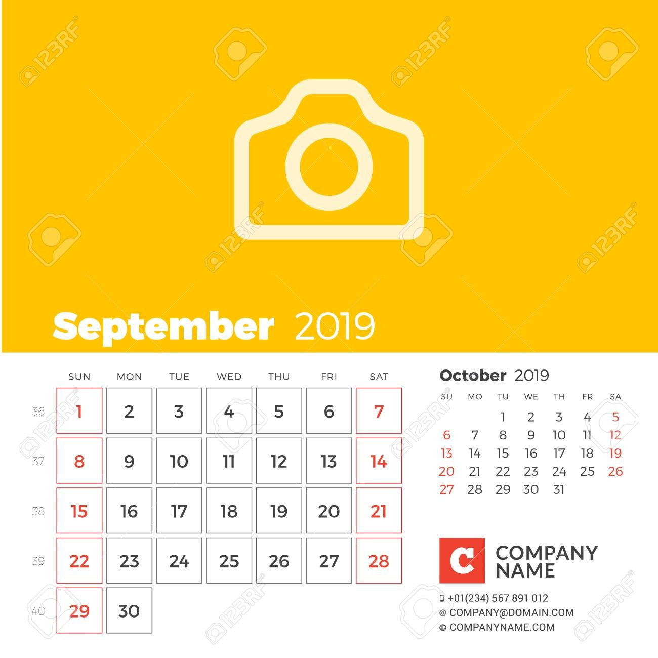 September 2019. Calendar For 2019 Year. Week Starts On Sunday. 2 Months On  Page. Vector Design Print Template With Place For Photo And Company Print A 2 Week Calendar