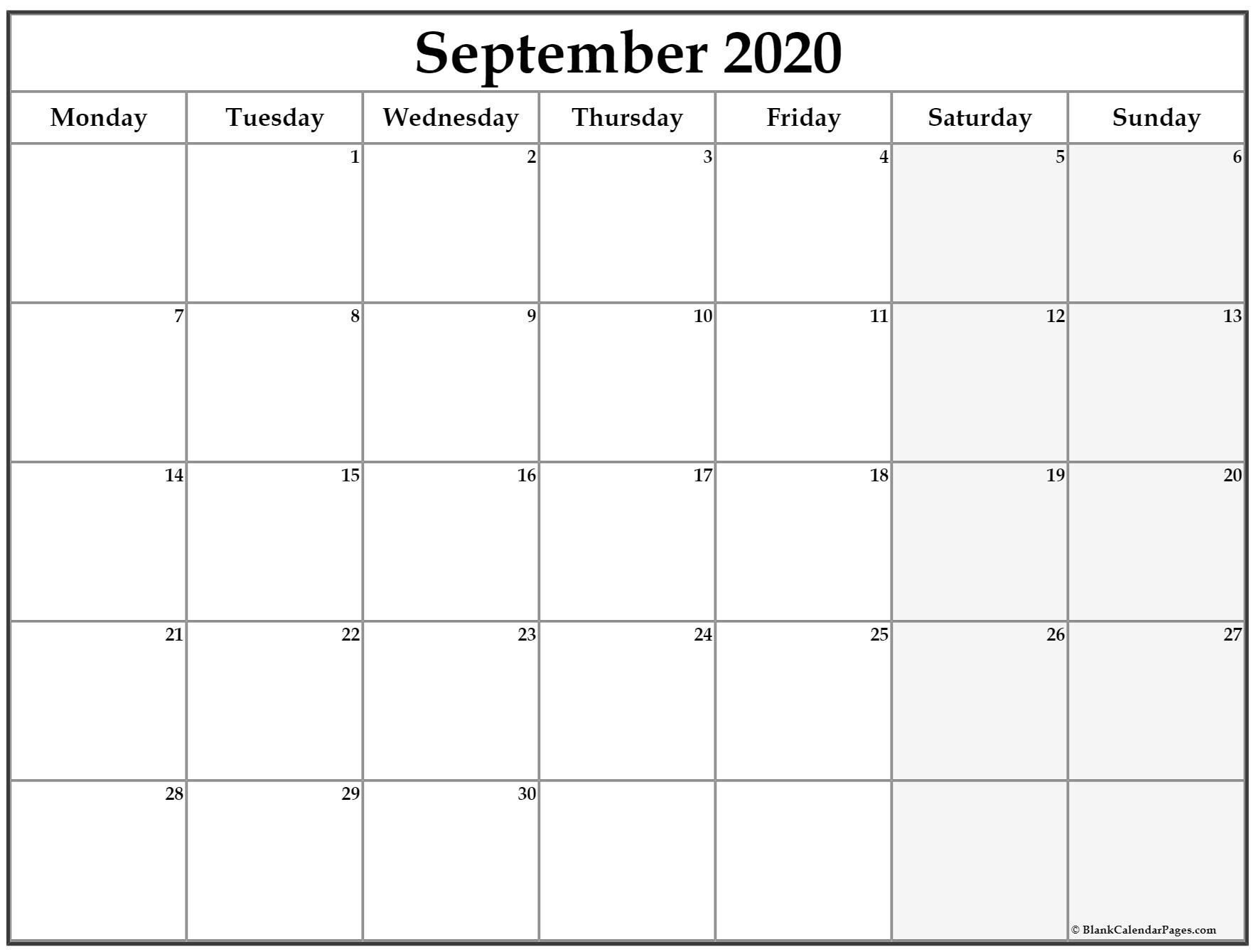 September 2020 Monday Calendar | Monday To Sunday Calendar Saturday To Friday