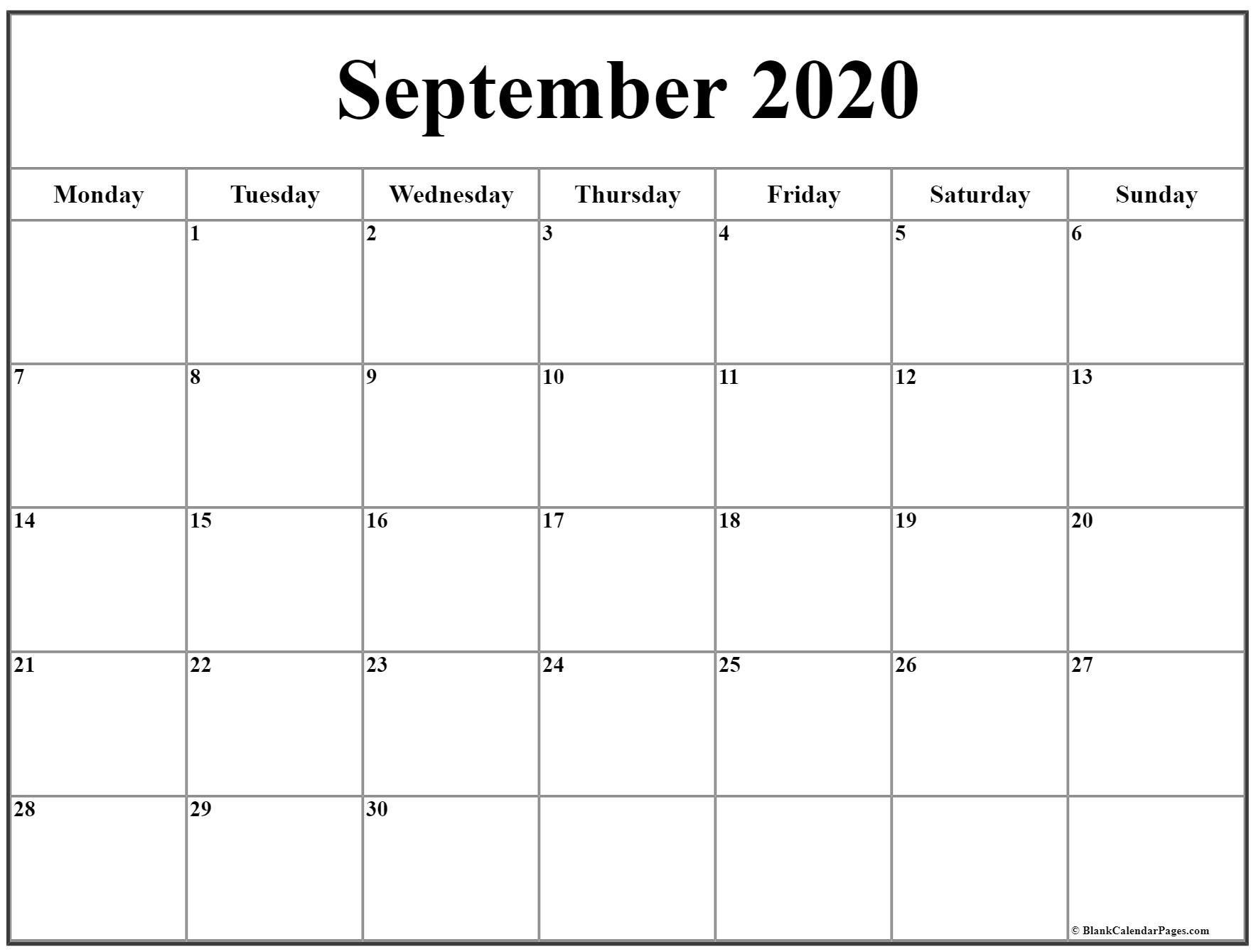 September 2020 Monday Calendar | Monday To Sunday Saturday Through Friday Calendar