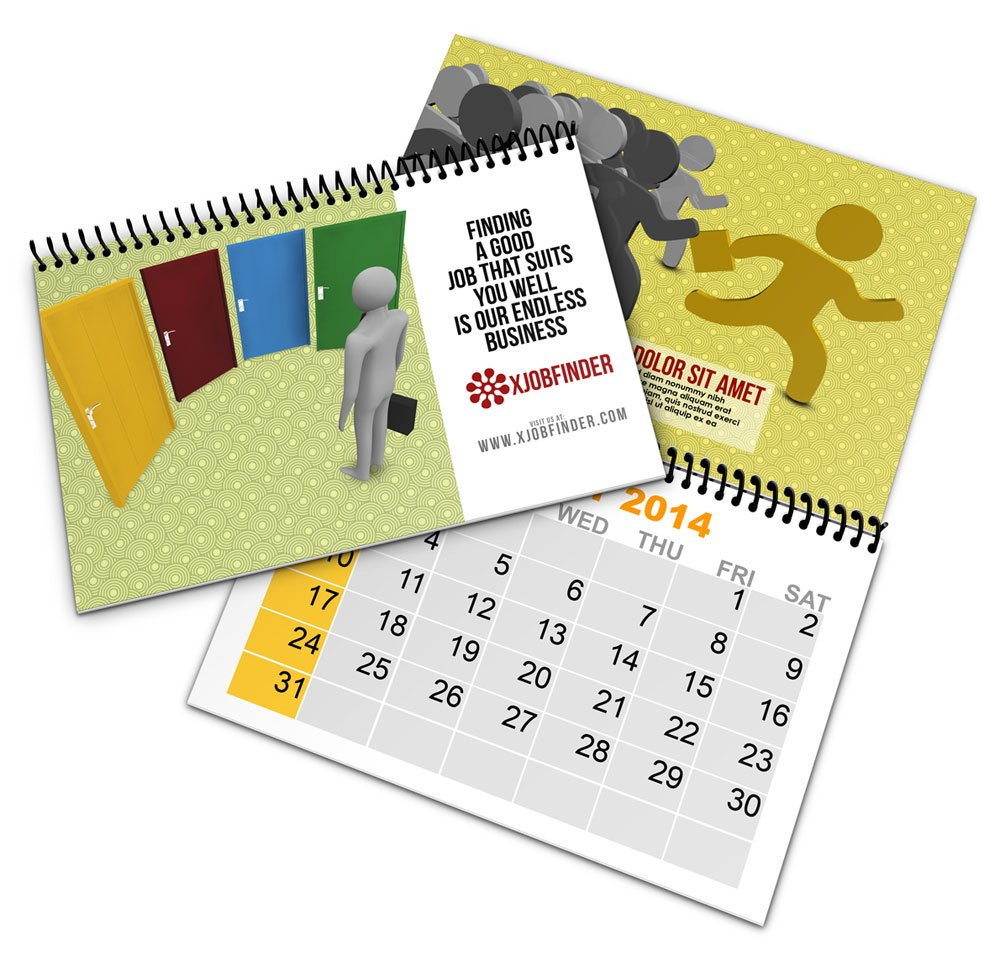 Spiral Bind Calendar Book Mock Up | Cover Actions Premium 5.5 X 8.5 Inch Calendar