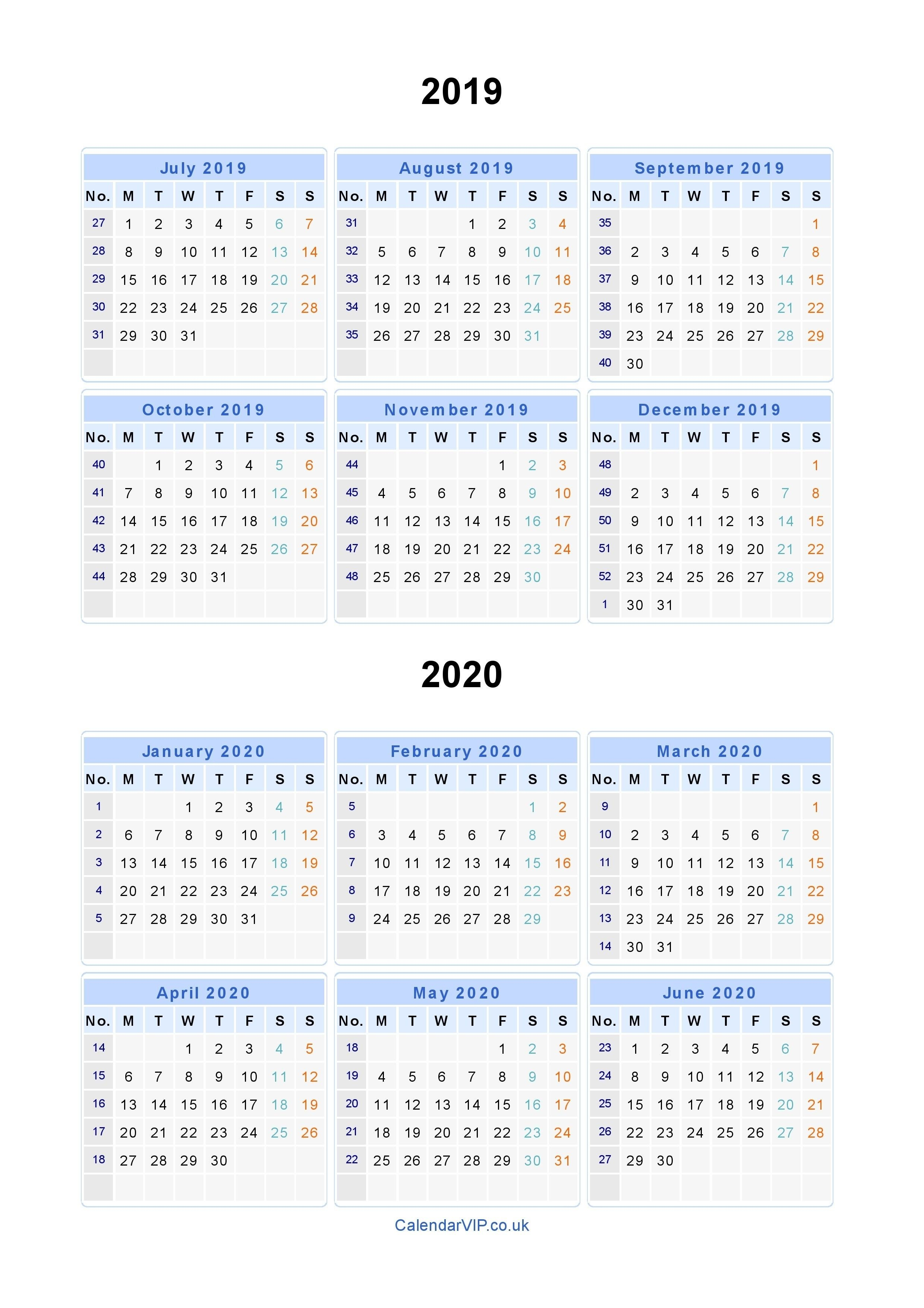 Split Year Calendars 2019 2020 - Calendar From July 2019 To Printable Multi Year Calendars On One Page