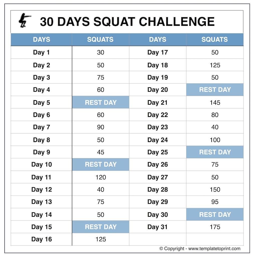 Squat Challenge Beginners » Template To Print Squat Challenge Calendar Beginner Printable