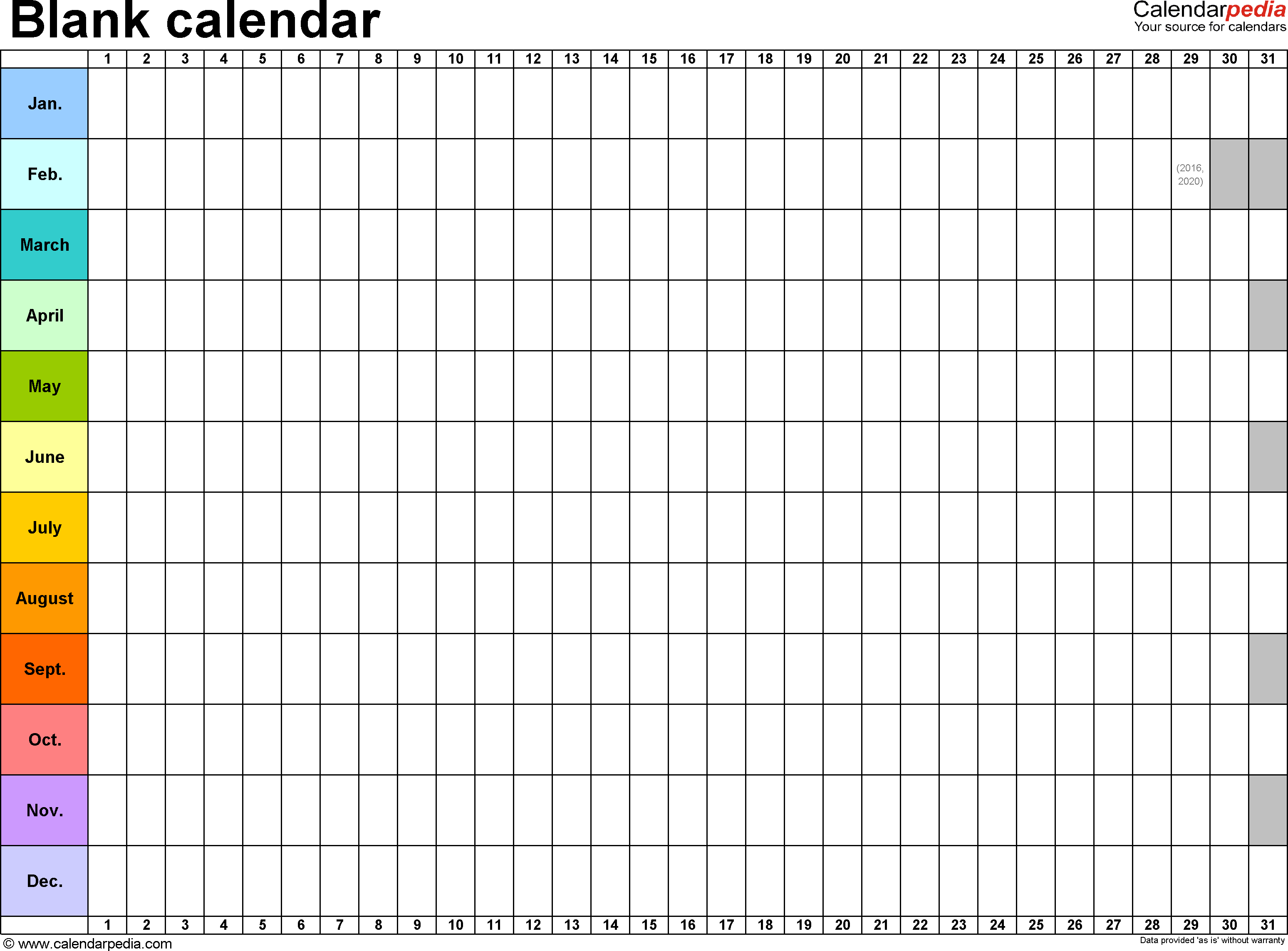 Template 2: Excel Template For Blank Calendar (Landscape Template For 2 Page Hp Calendar