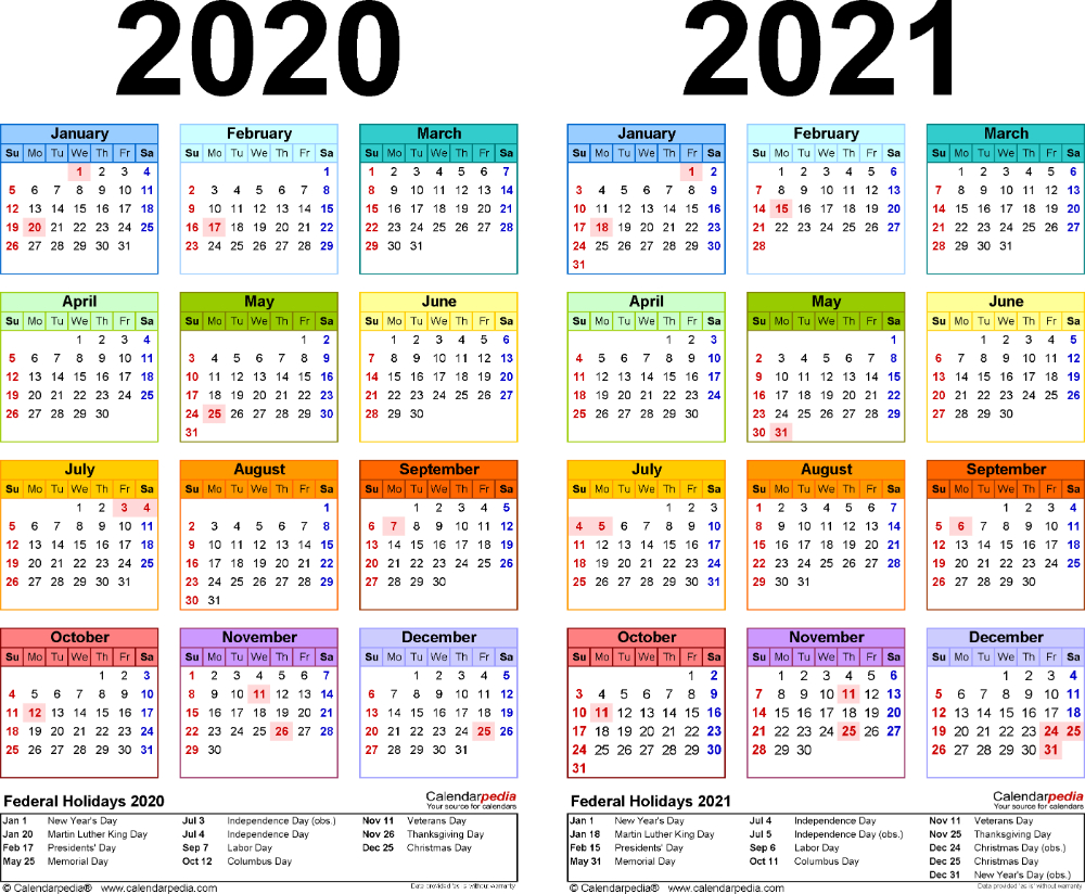 Template 2: Pdf Template For Two Year Calendar 2020/2021 Free Print Color Coded Calendar