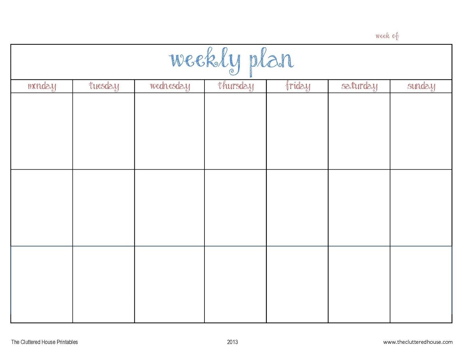 The Cluttered House: Weekly Planner Printable 4 Week Calendar Printable
