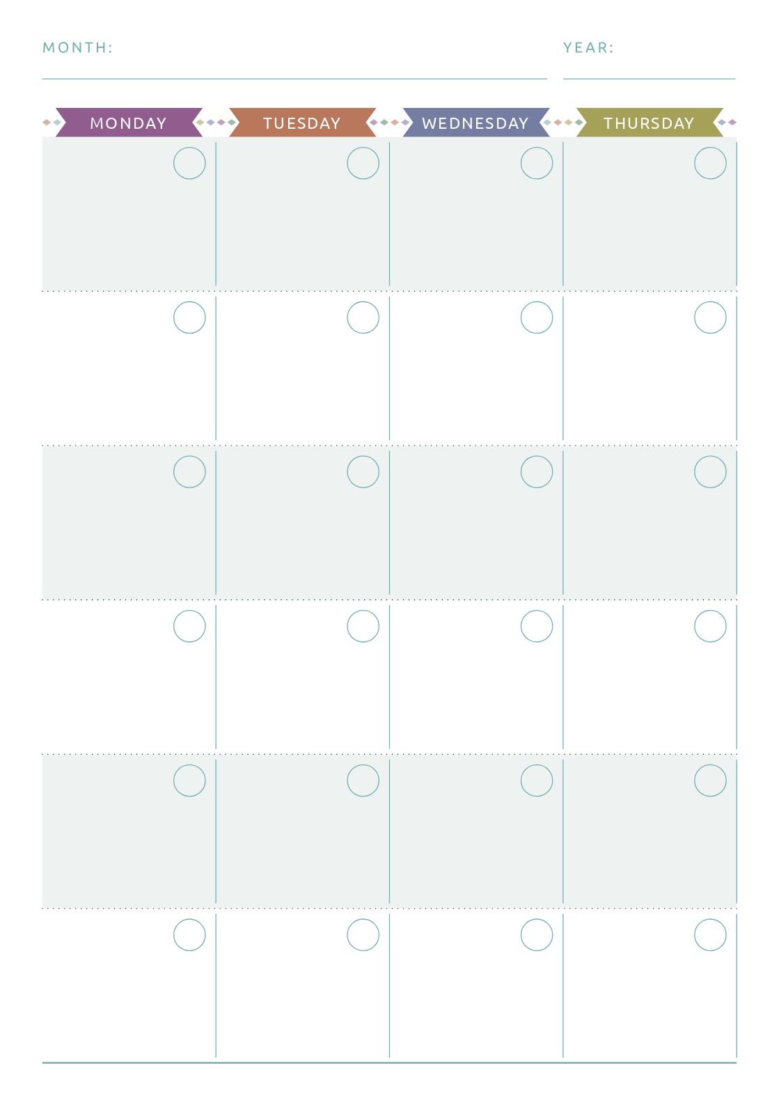 Undated Planner Calendar Template In Casual Style. This Layout For Two Week Calendar