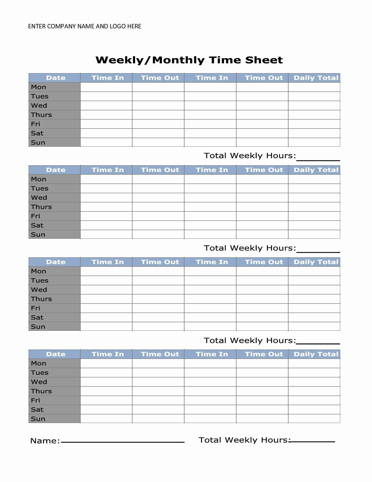 Unique Simple Time Card #exceltemplate #xls #xlstemplate Printable Time Sheet Calendar
