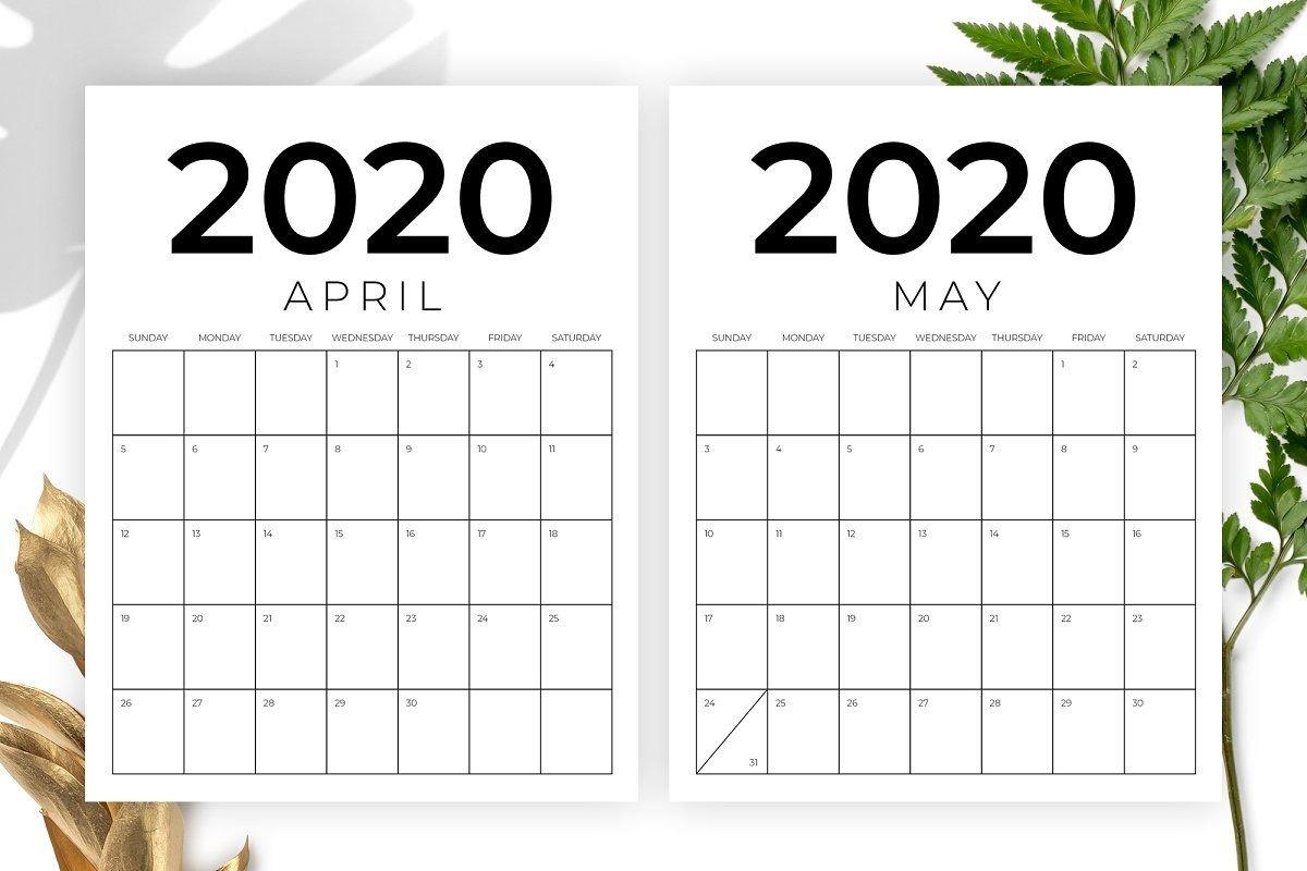 Vertical 8.5 X 11 Inch 2020 Calendar 8.5 By 11 Calendar