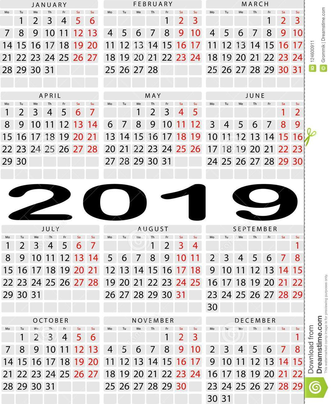 Vertical Calendar For 2019 Year. Week With Two Days Off Two Weeks In May Calendar