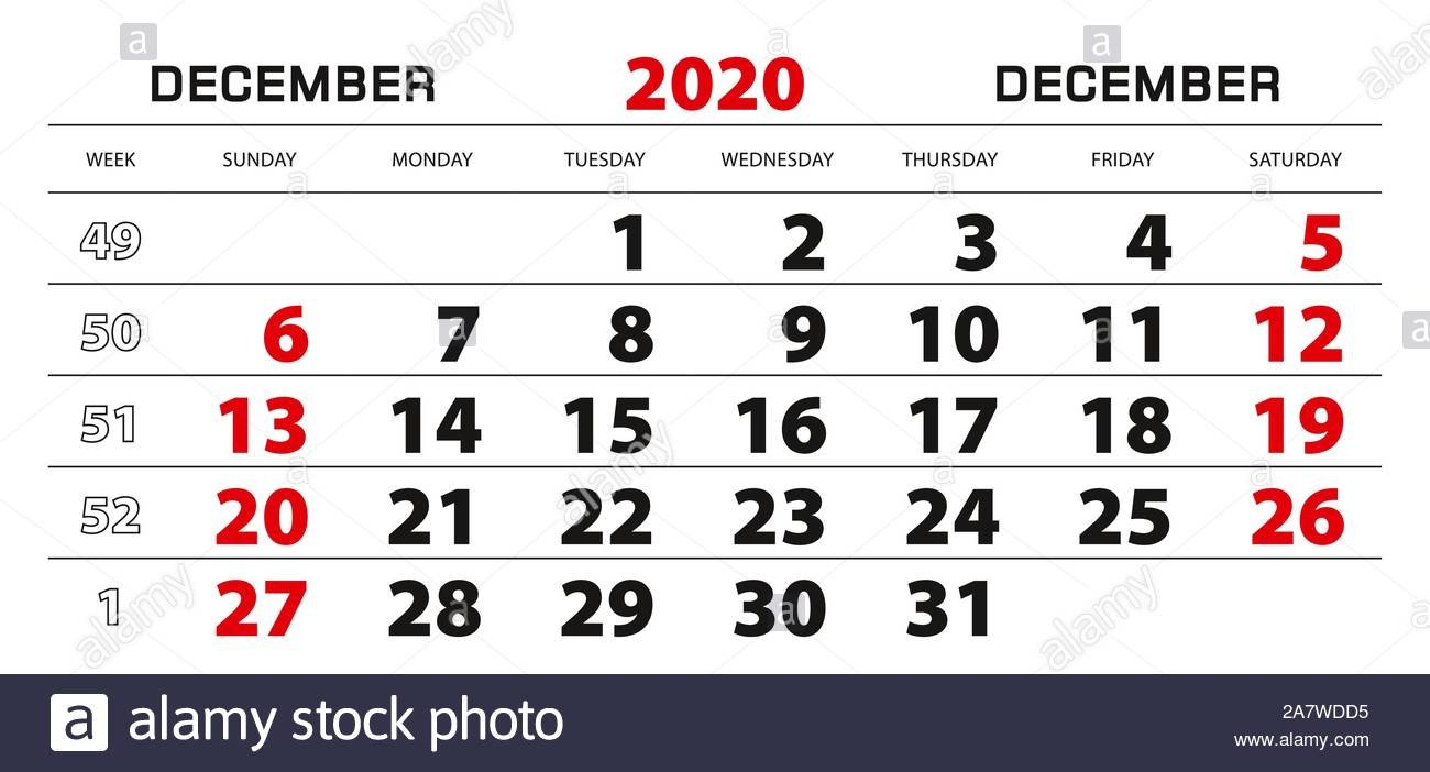 Wall Calendar 2020 For December, Week Start From Sunday 1 Through 31 Block Calendar