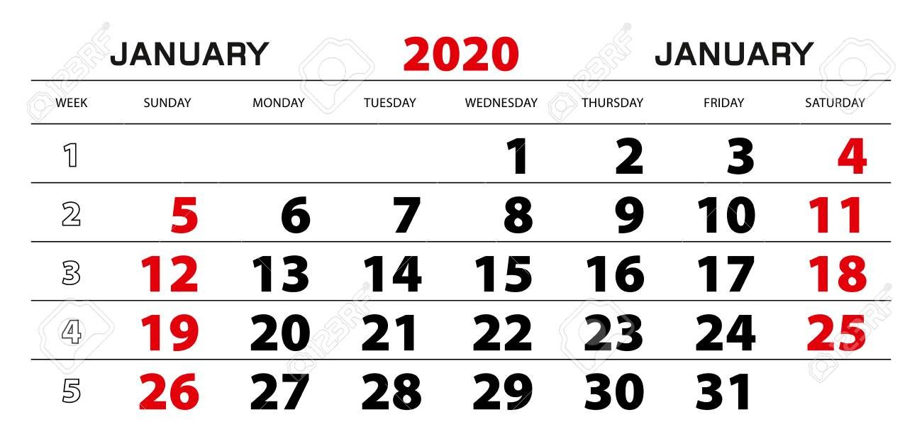 Wall Calendar 2020 For January, Week Start From Sunday. Block.. 1 Through 31 Block Calendar