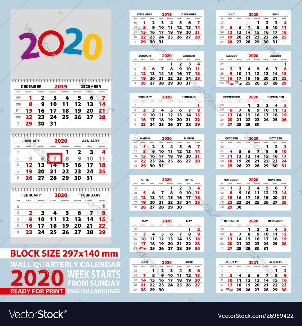 Wall Calendar 2020 Week Start From Sunday For A4 1 Through 31 Block Calendar