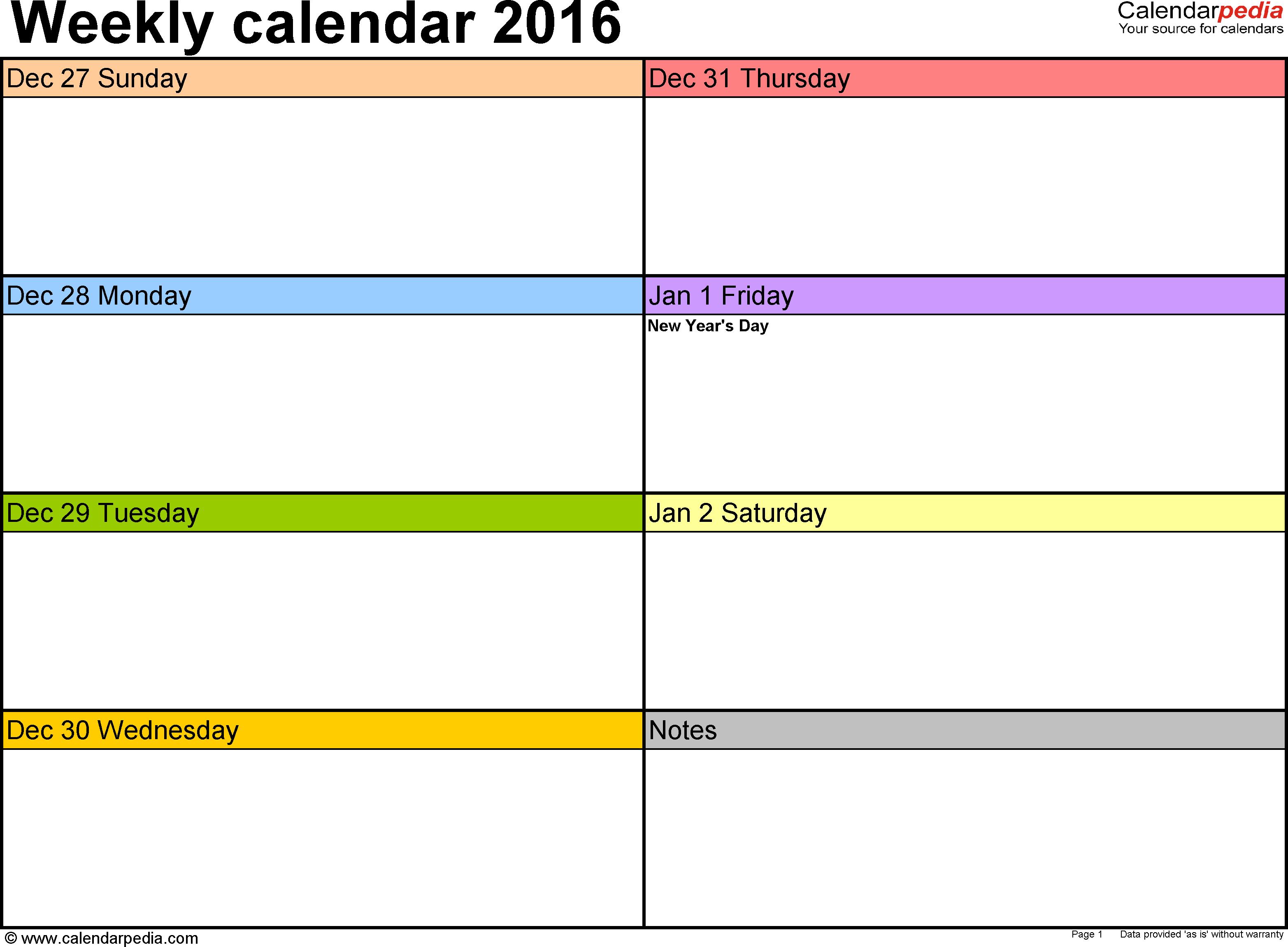 Weekly Calendar 2016: Template For Pdf Version 6, Landscape 1 Week Printable Calendar