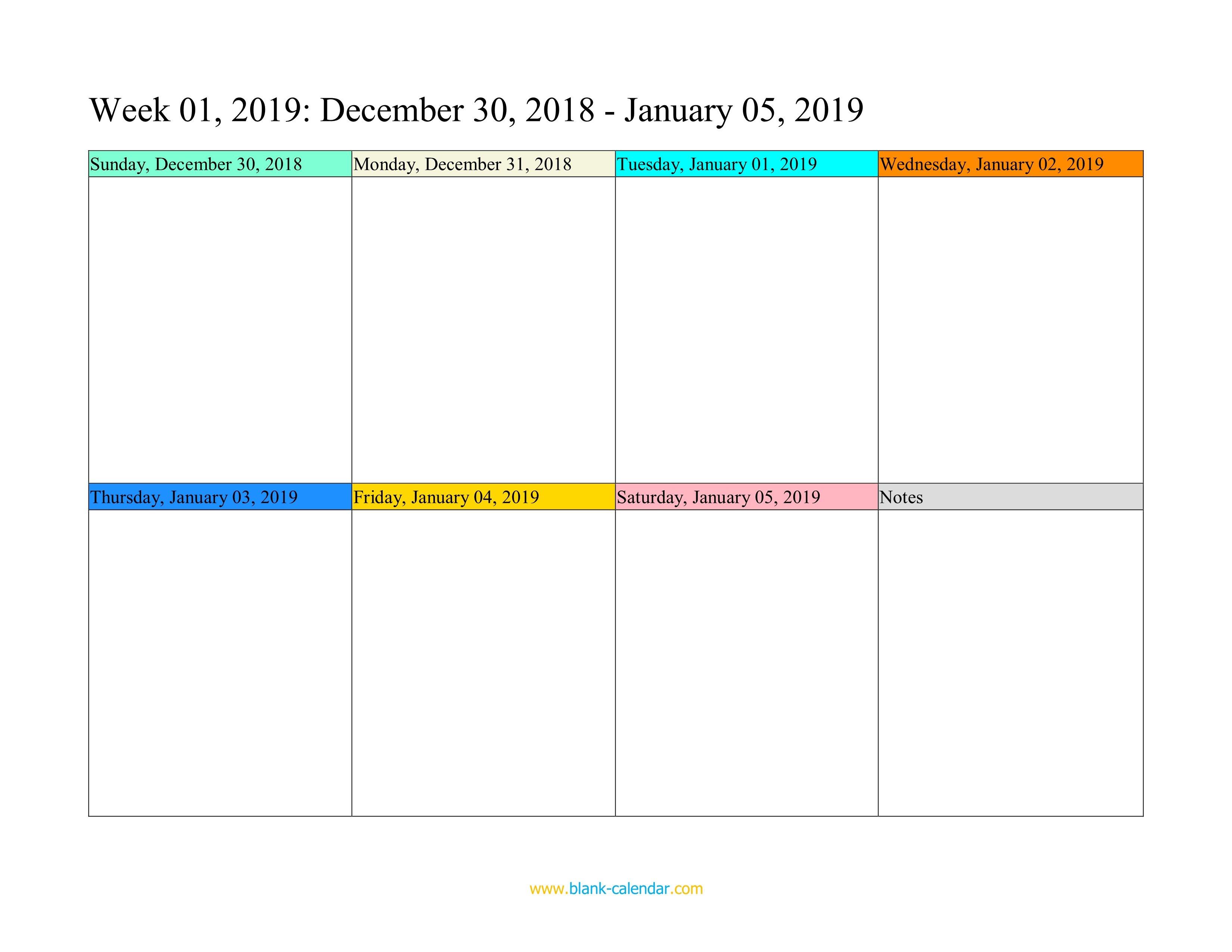 Weekly Calendar 2019 (Word, Excel, Pdf) One Week Printable Calnedar