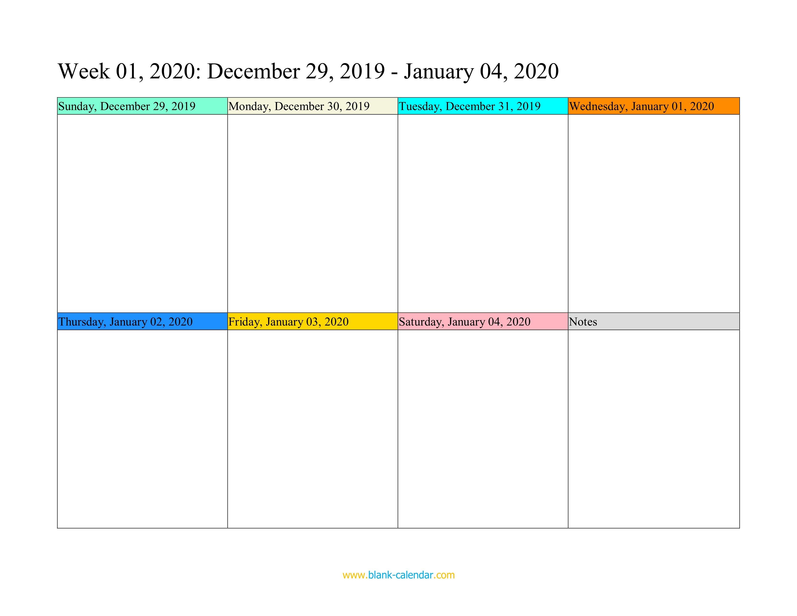 Weekly Calendar 2020 (Word, Excel, Pdf) Saturday To Friday Weekly Calendar