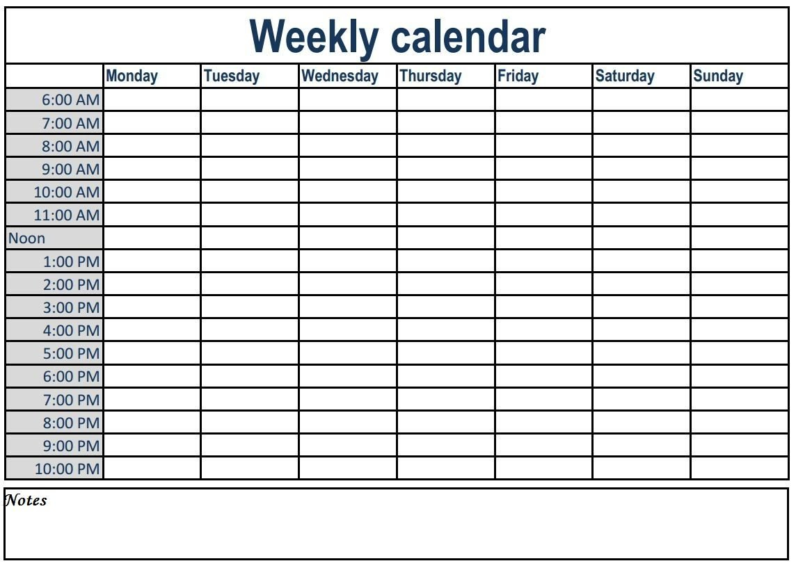Weekly Calendar With Time Slots #weeklyplanner #calendars Calendar With Hourly Time Slots