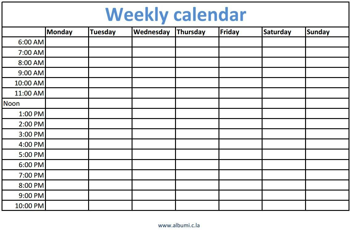 Weekly Calendars With Times Printable (With Images) | Blank Blank 8 Week Calendar Printable