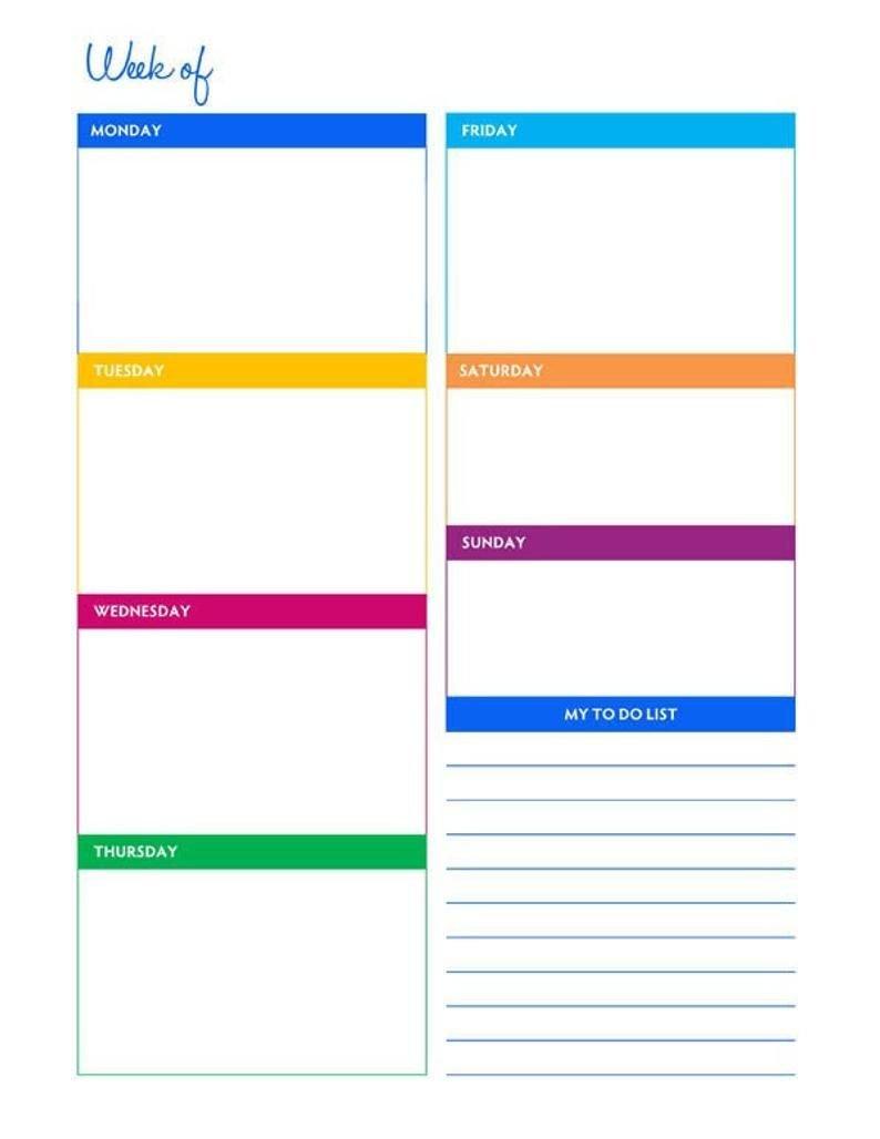 Weekly Portrait Blank Calendar Planner Printable - Instant Free Printable 8 1/2 X 11 Weekly Planner