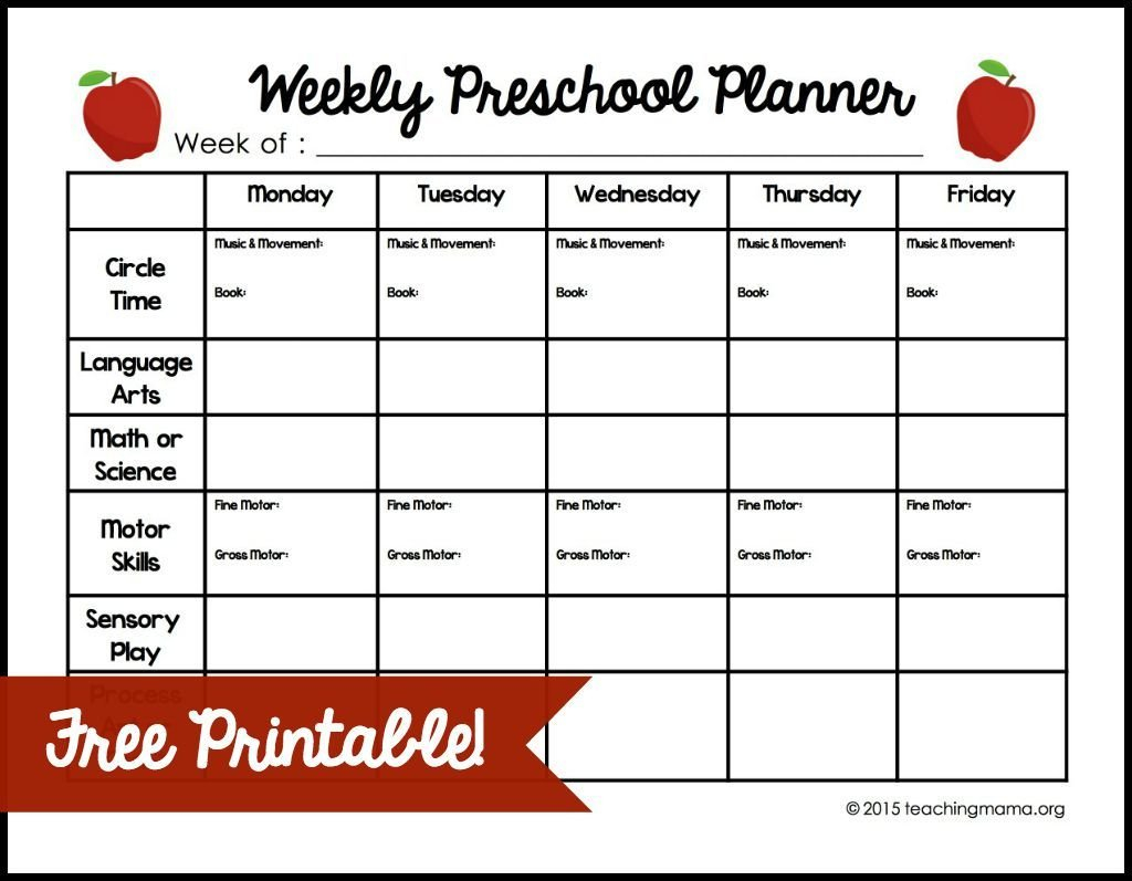 Weekly Preschool Planner (With Images) | Preschool Planner Lesson Plan Template Weekly Prescool Plannar