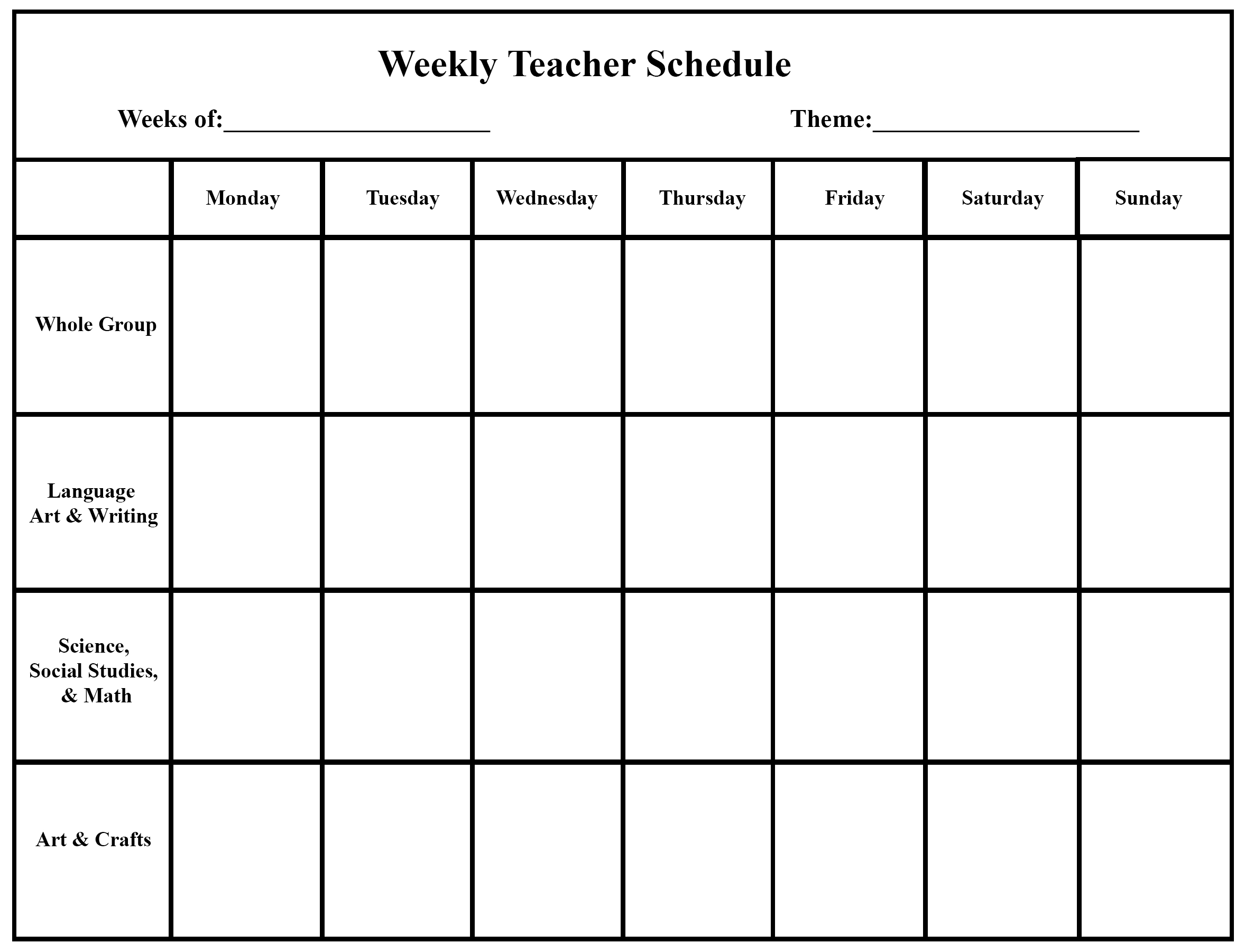 Weekly Schedule Template 4 Week Planner Template Word