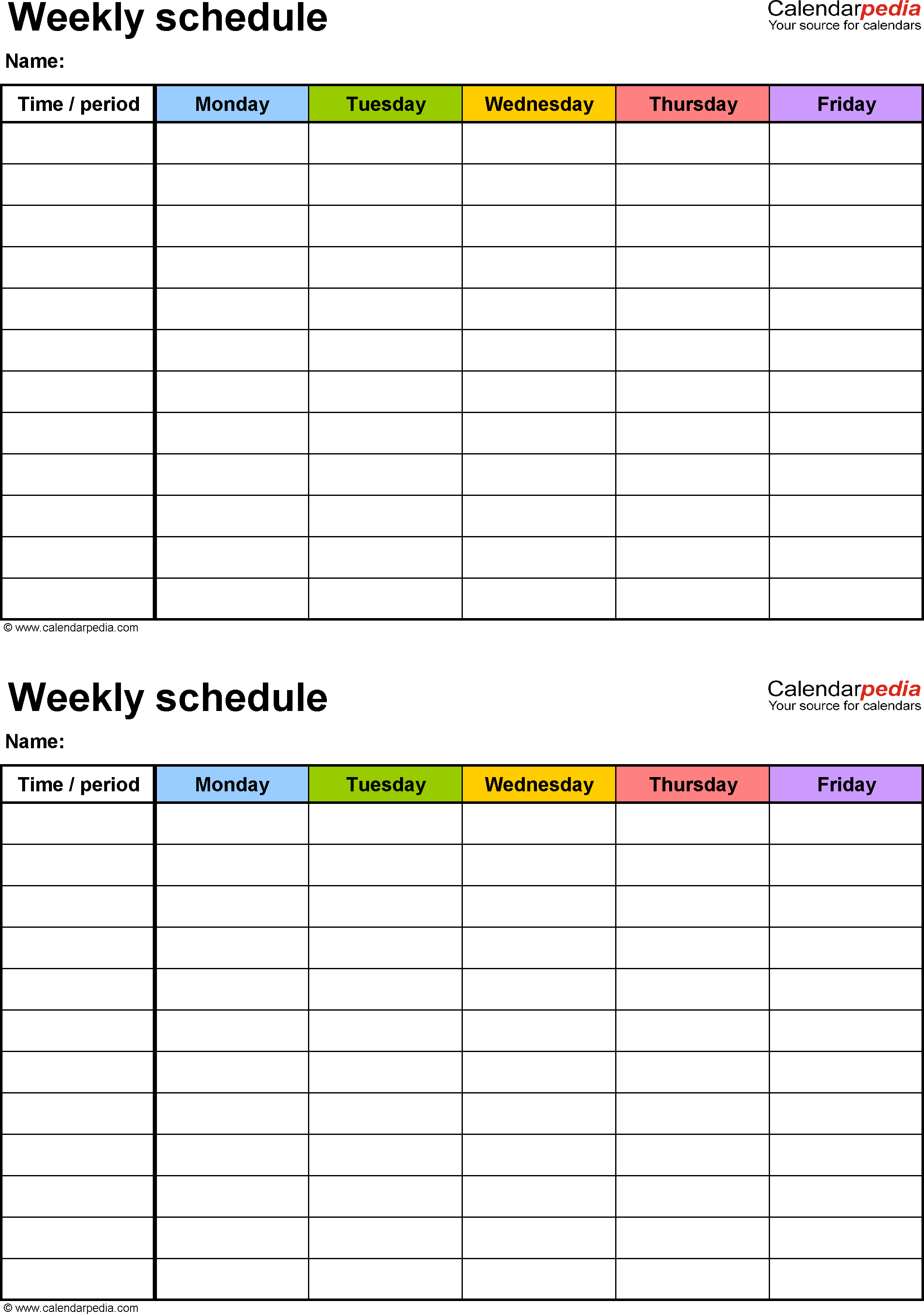Weekly Schedule Template For Pdf Version 3: 2 Schedules On 2 Week Calendar Sheets